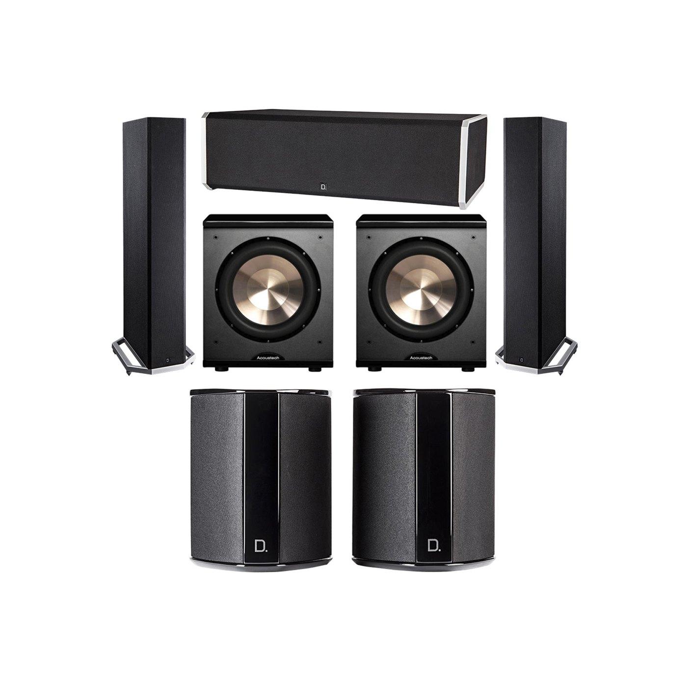 Definitive Technology 5.2 System with 2 BP9020 Tower Speakers, 1 CS9080 Center Channel Speaker, 2 SR9040 Surround Speaker, 2 BIC PL-200 Subwoofer