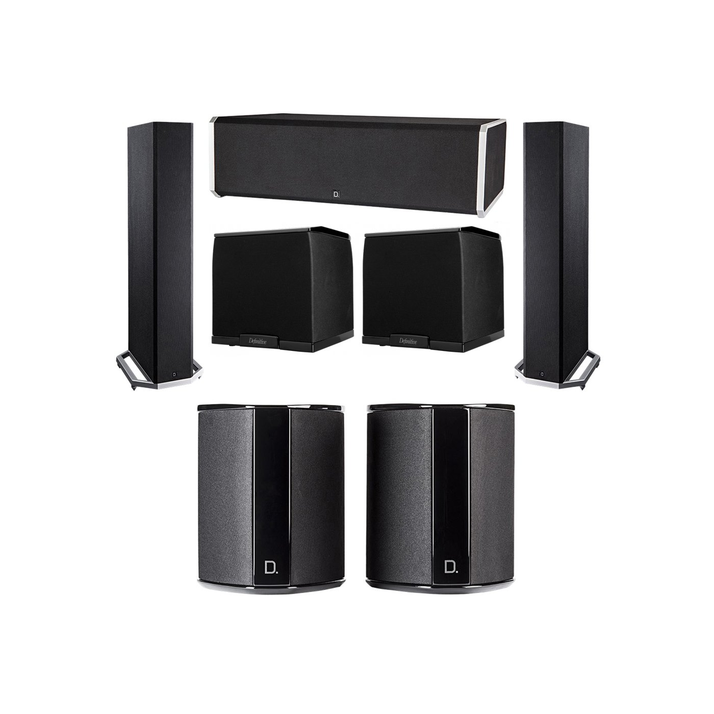 Definitive Technology 5.2 System with 2 BP9020 Tower Speakers, 1 CS9080 Center Channel Speaker, 2 SR9040 Surround Speaker, 2 Definitive Technology SuperCube 2000 Powered Subwoofer
