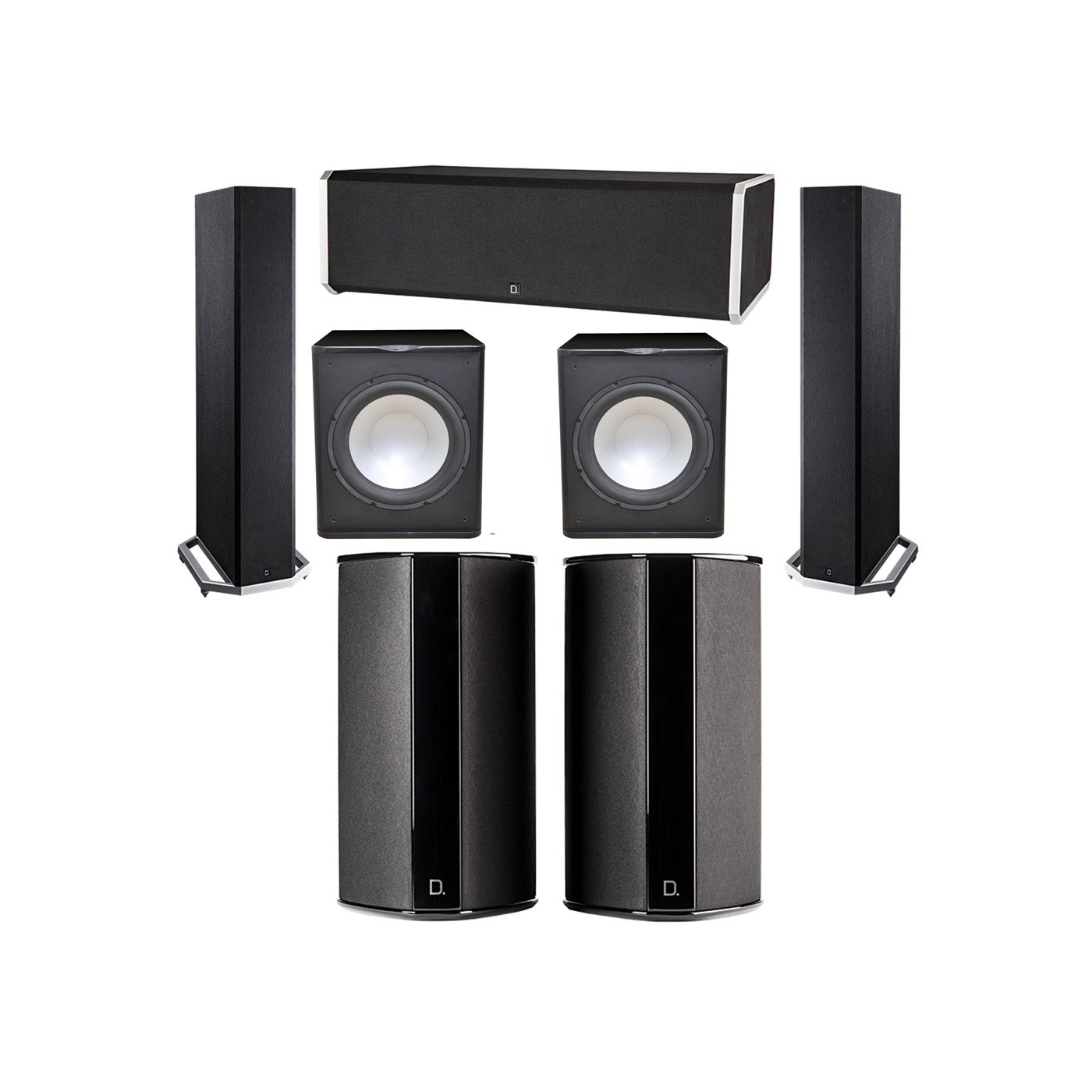 Definitive Technology 5.2 System with 2 BP9020 Tower Speakers, 1 CS9080 Center Channel Speaker, 2 SR9080 Surround Speaker, 2 Premier Acoustic PA-150 Subwoofer