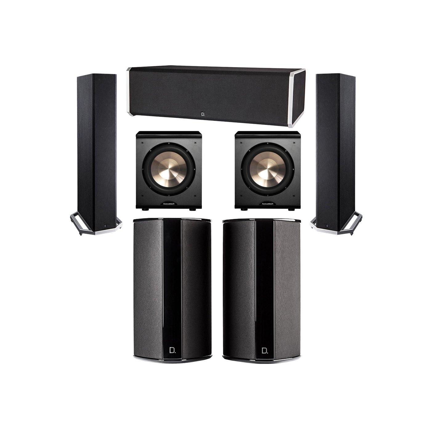 Definitive Technology 5.2 System with 2 BP9020 Tower Speakers, 1 CS9080 Center Channel Speaker, 2 SR9080 Surround Speaker, 2 BIC PL-200 Subwoofer