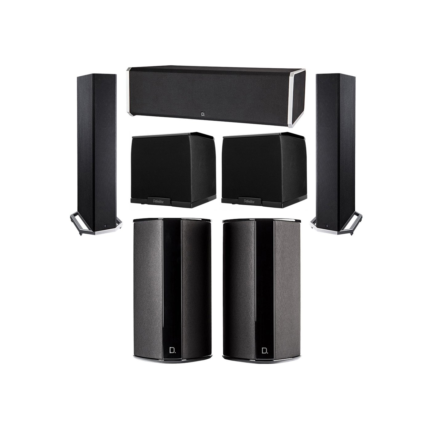 Definitive Technology 5.2 System with 2 BP9020 Tower Speakers, 1 CS9080 Center Channel Speaker, 2 SR9080 Surround Speaker, 2 Definitive Technology SuperCube 2000 Powered Subwoofer