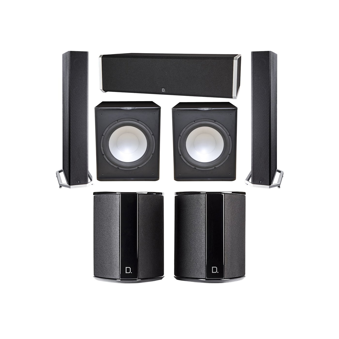 Definitive Technology 5.2 System with 2 BP9040 Tower Speakers, 1 CS9040 Center Channel Speaker, 2 SR9040 Surround Speaker, 2 Premier Acoustic PA-150 Subwoofer