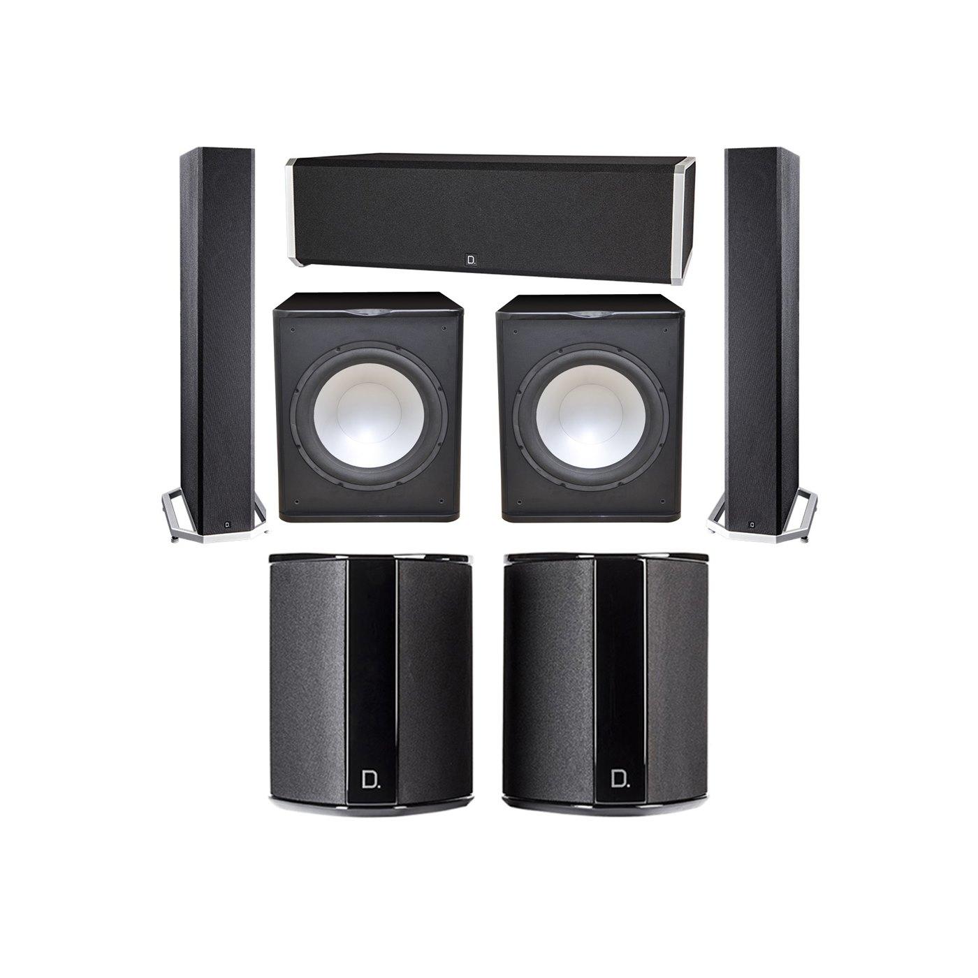 Definitive Technology 5.2 System with 2 BP9040 Tower Speakers, 1 CS9040 Center Channel Speaker, 2 SR9040 Surround Speaker, 2 Premier Acoustic PA-150 Subwoofer