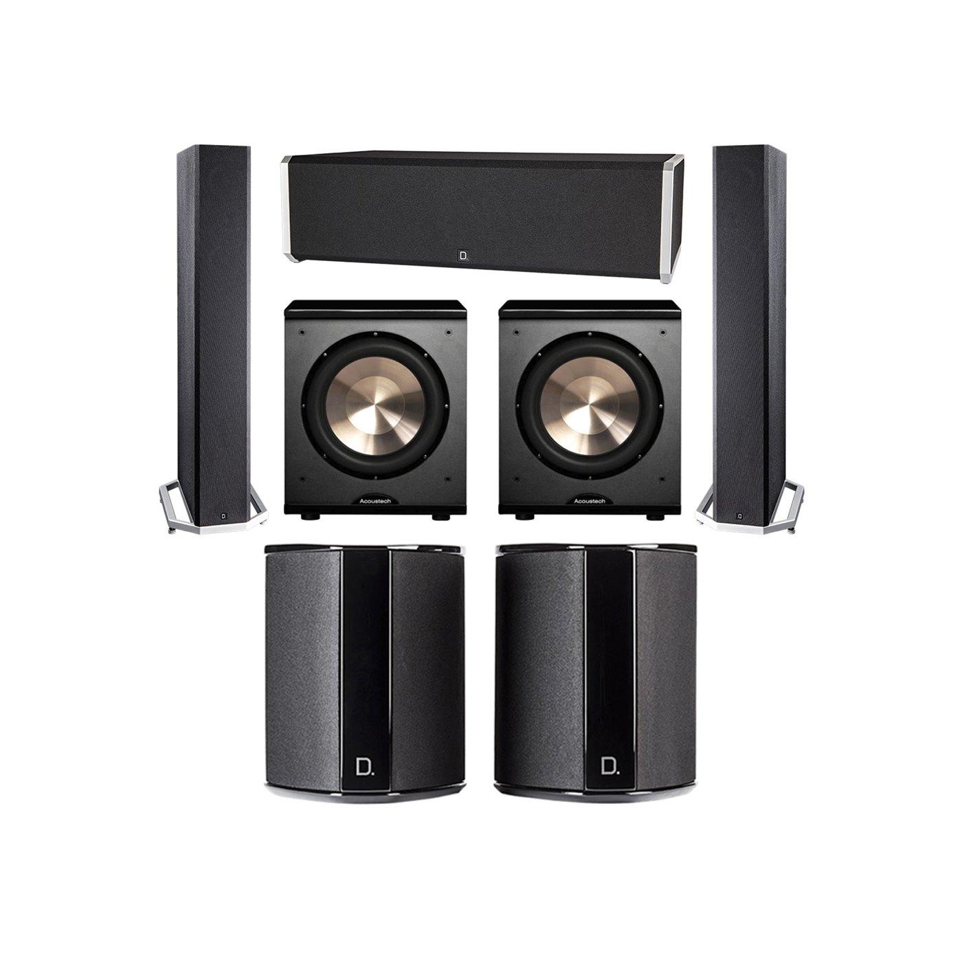 Definitive Technology 5.2 System with 2 BP9040 Tower Speakers, 1 CS9040 Center Channel Speaker, 2 SR9040 Surround Speaker, 2 BIC PL-200 Subwoofer