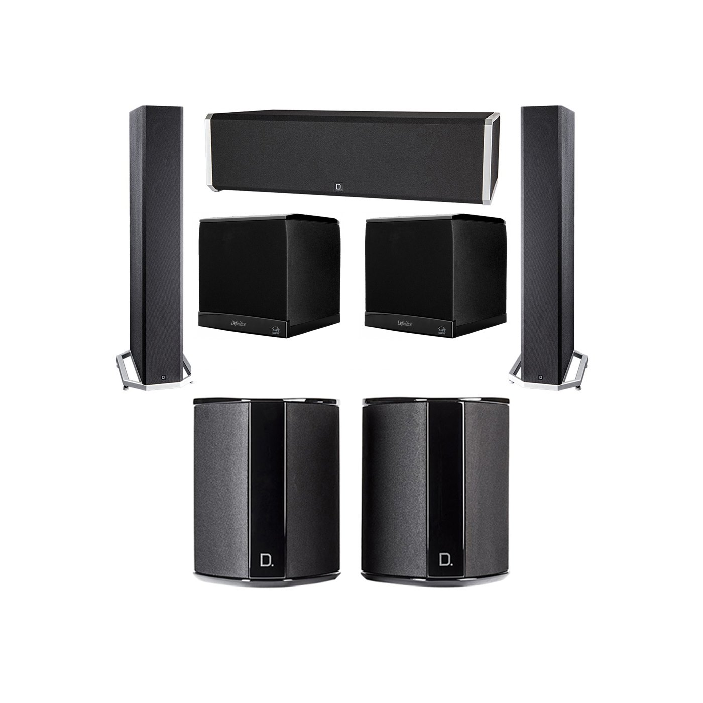 Definitive Technology 5.2 System with 2 BP9040 Tower Speakers, 1 CS9040 Center Channel Speaker, 2 SR9040 Surround Speaker, 2 Definitive Technology SuperCube 4000 Powered Subwoofer