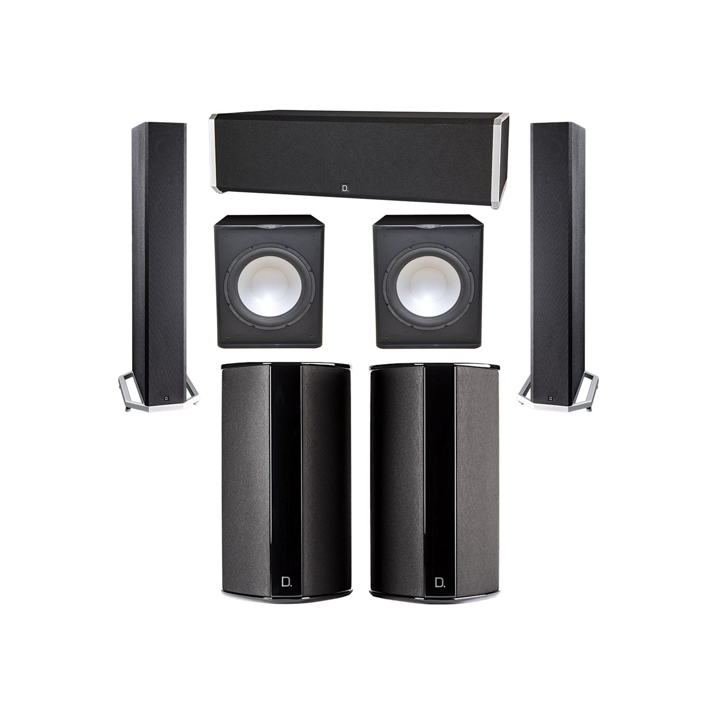 Definitive Technology 5.2 System with 2 BP9040 Tower Speakers, 1 CS9040 Center Channel Speaker, 2 SR9080 Surround Speaker, 2 Premier Acoustic PA-150 Subwoofer