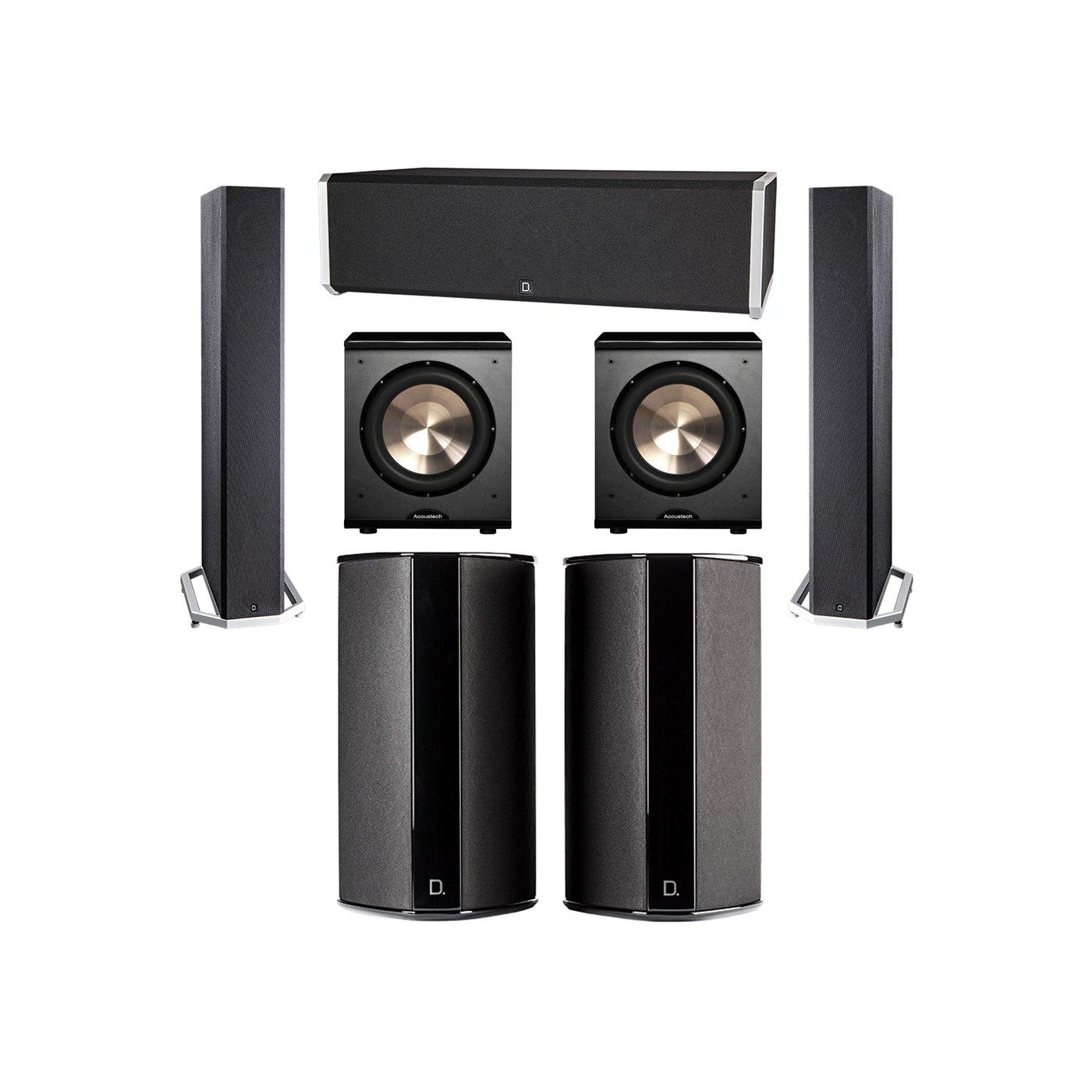 Definitive Technology 5.2 System with 2 BP9040 Tower Speakers, 1 CS9040 Center Channel Speaker, 2 SR9080 Surround Speaker, 2 BIC PL-200 Subwoofer