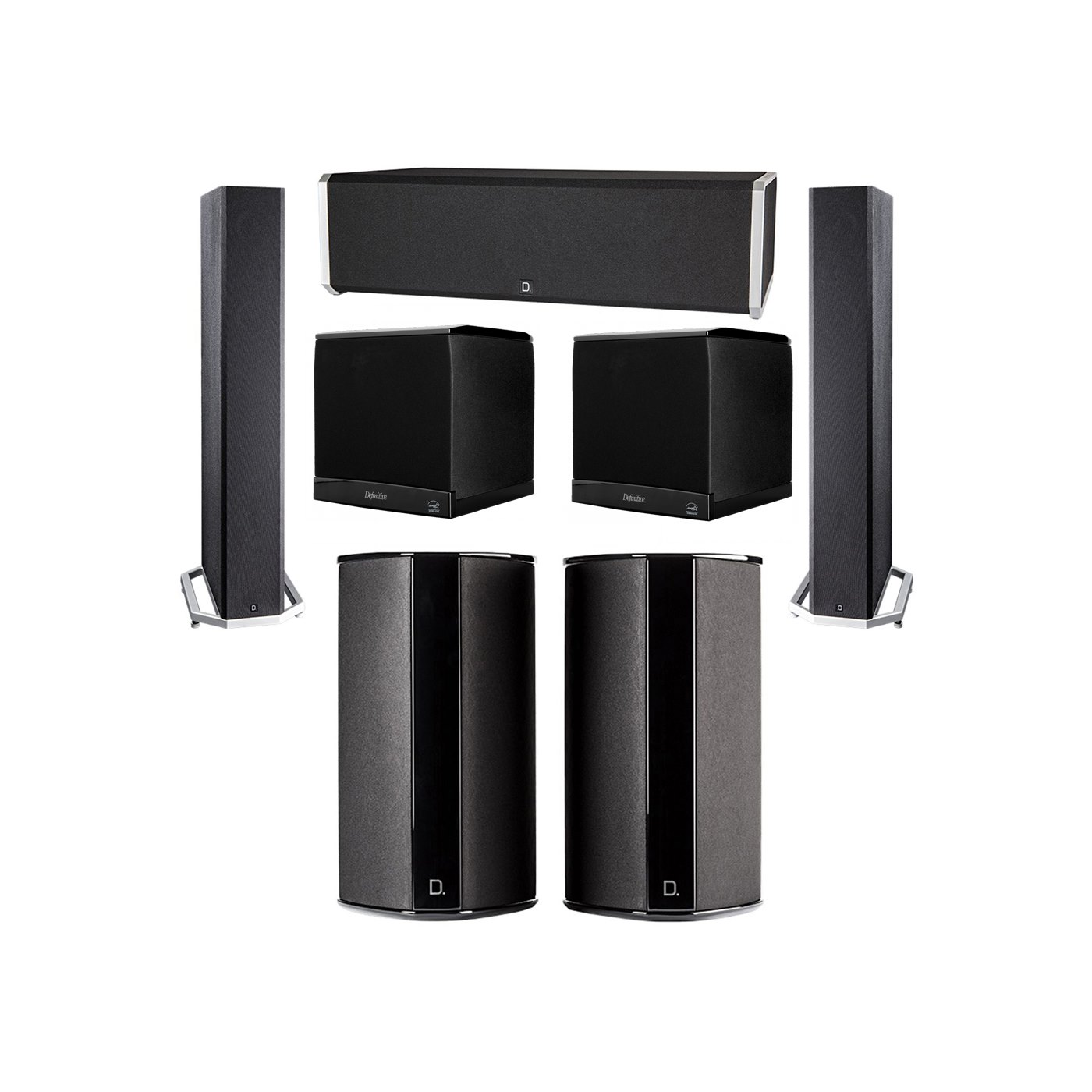 Definitive Technology 5.2 System with 2 BP9040 Tower Speakers, 1 CS9040 Center Channel Speaker, 2 SR9080 Surround Speaker, 2 Definitive Technology SuperCube 4000 Powered Subwoofer