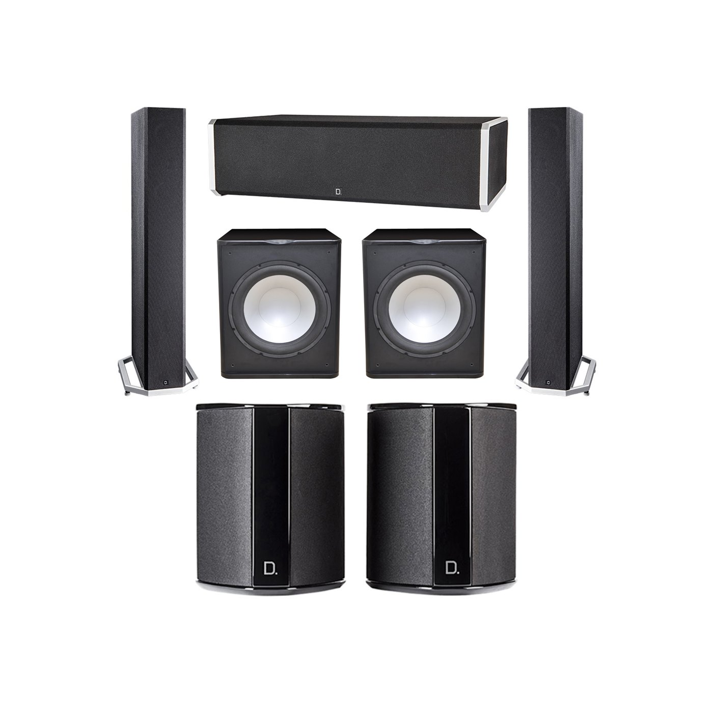 Definitive Technology 5.2 System with 2 BP9040 Tower Speakers, 1 CS9060 Center Channel Speaker, 2 SR9040 Surround Speaker, 2 Premier Acoustic PA-150 Subwoofer