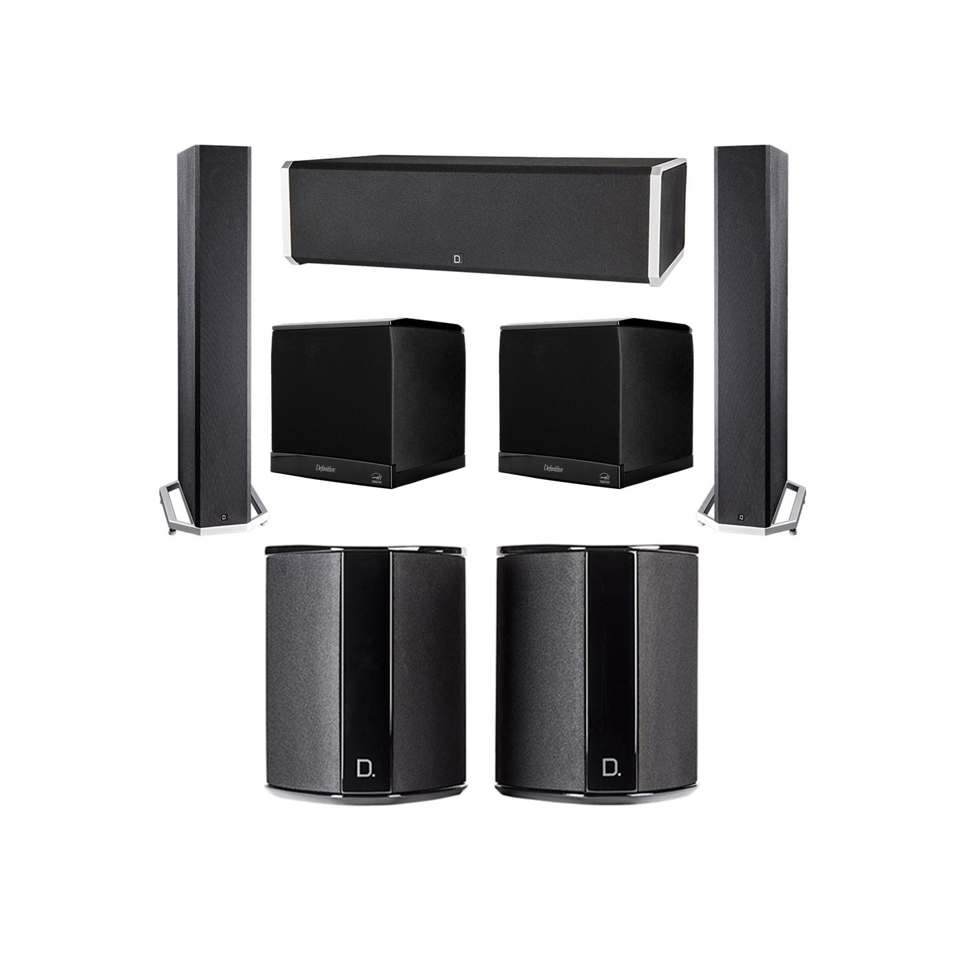 Definitive Technology 5.2 System with 2 BP9040 Tower Speakers, 1 CS9060 Center Channel Speaker, 2 SR9040 Surround Speaker, 2 Definitive Technology SuperCube 4000 Powered Subwoofer