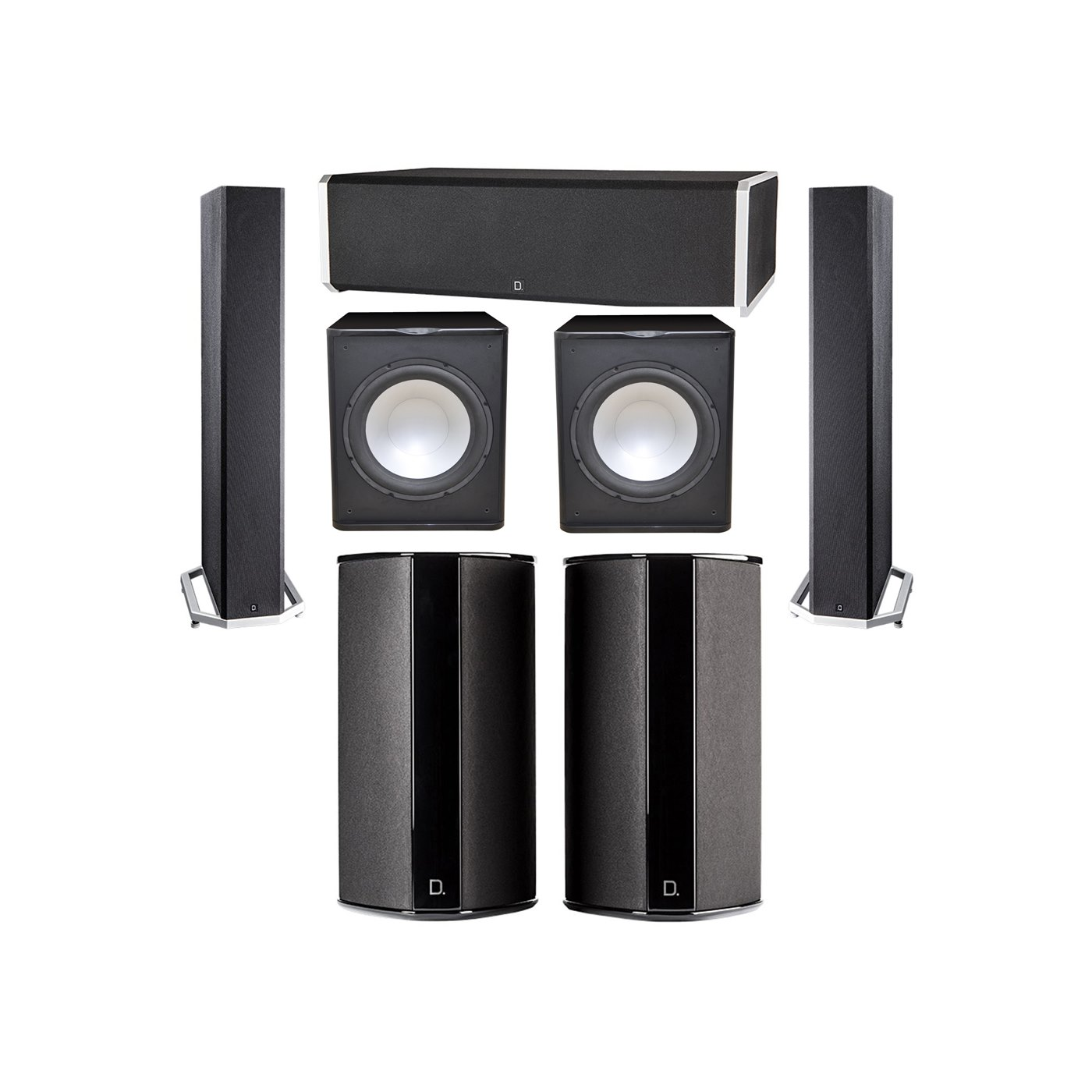 Definitive Technology 5.2 System with 2 BP9040 Tower Speakers, 1 CS9060 Center Channel Speaker, 2 SR9080 Surround Speaker, 2 Premier Acoustic PA-150 Subwoofer