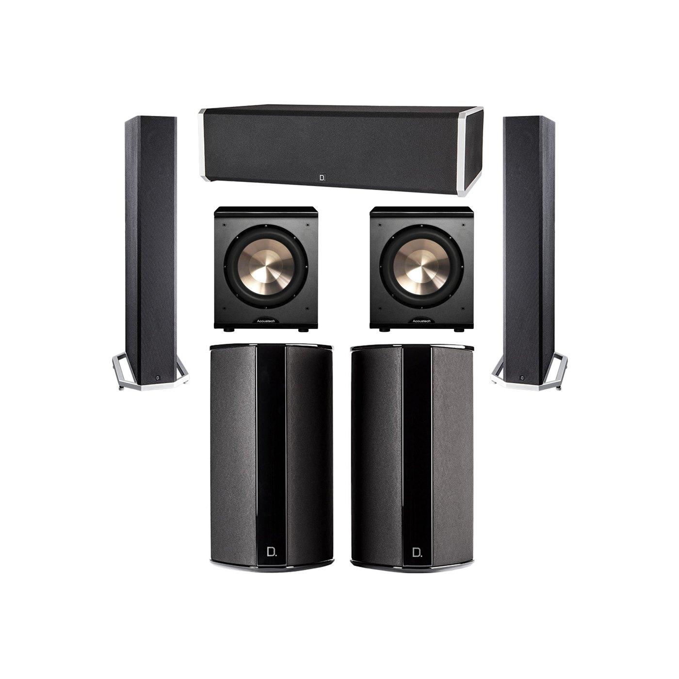 Definitive Technology 5.2 System with 2 BP9040 Tower Speakers, 1 CS9060 Center Channel Speaker, 2 SR9080 Surround Speaker, 2 BIC PL-200 Subwoofer