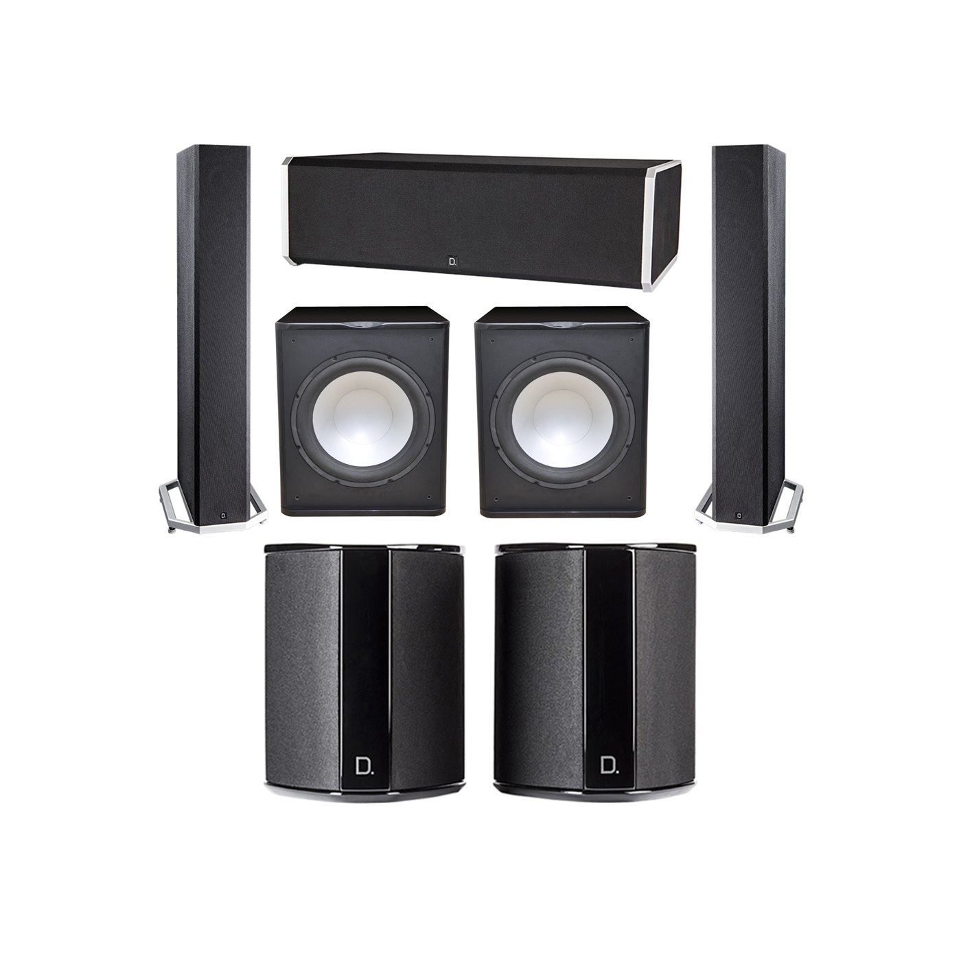 Definitive Technology 5.2 System with 2 BP9040 Tower Speakers, 1 CS9080 Center Channel Speaker, 2 SR9040 Surround Speaker, 2 Premier Acoustic PA-150 Subwoofer