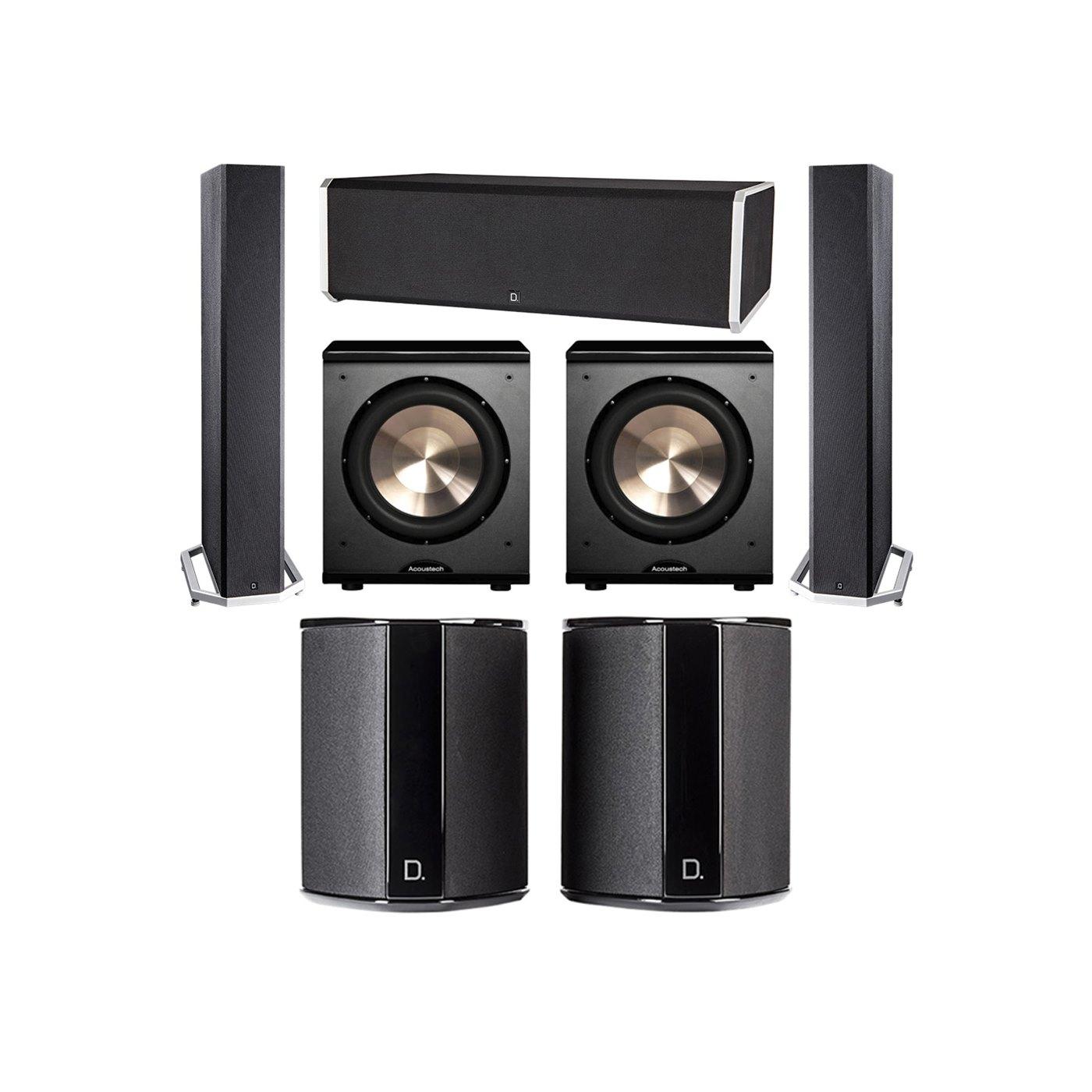 Definitive Technology 5.2 System with 2 BP9040 Tower Speakers, 1 CS9080 Center Channel Speaker, 2 SR9040 Surround Speaker, 2 BIC PL-200 Subwoofer