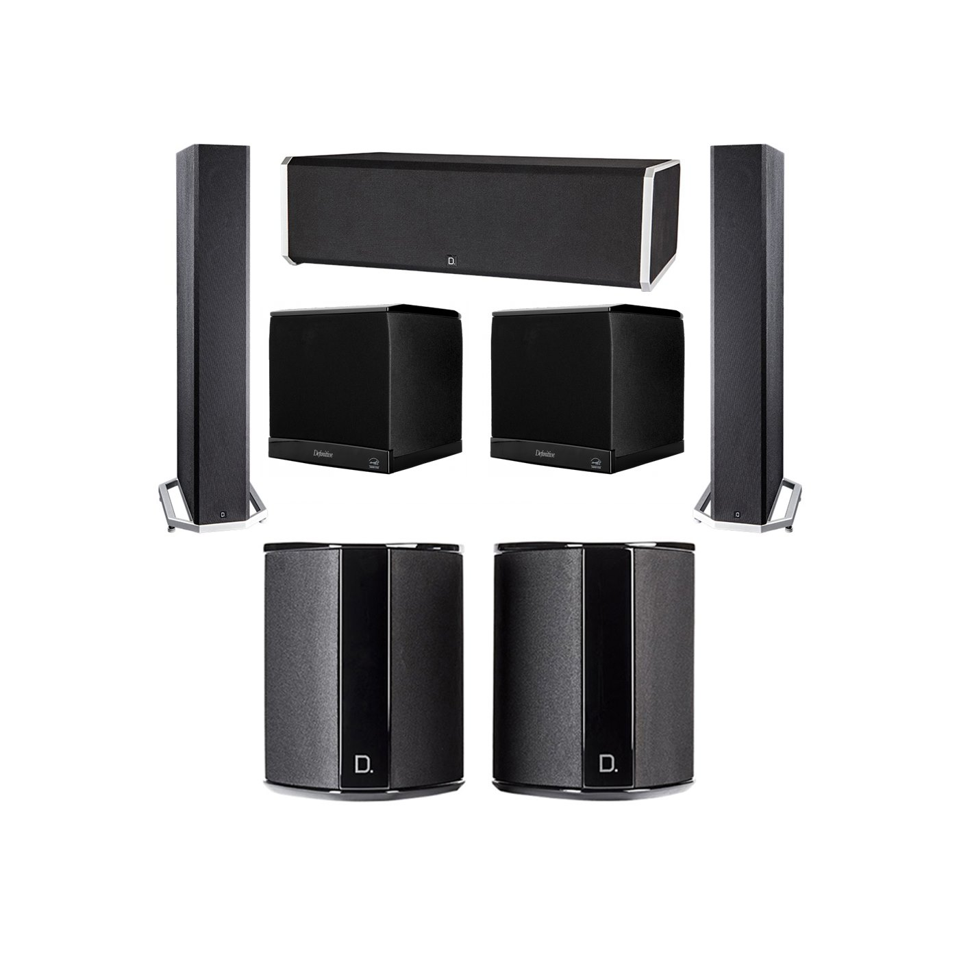Definitive Technology 5.2 System with 2 BP9040 Tower Speakers, 1 CS9080 Center Channel Speaker, 2 SR9040 Surround Speaker, 2 Definitive Technology SuperCube 4000 Powered Subwoofer