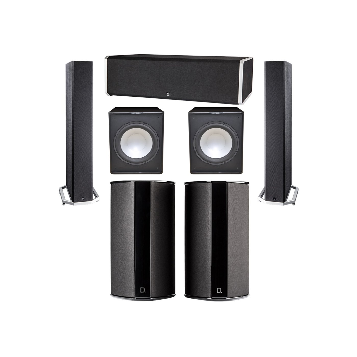 Definitive Technology 5.2 System with 2 BP9040 Tower Speakers, 1 CS9080 Center Channel Speaker, 2 SR9080 Surround Speaker, 2 Premier Acoustic PA-150 Subwoofer