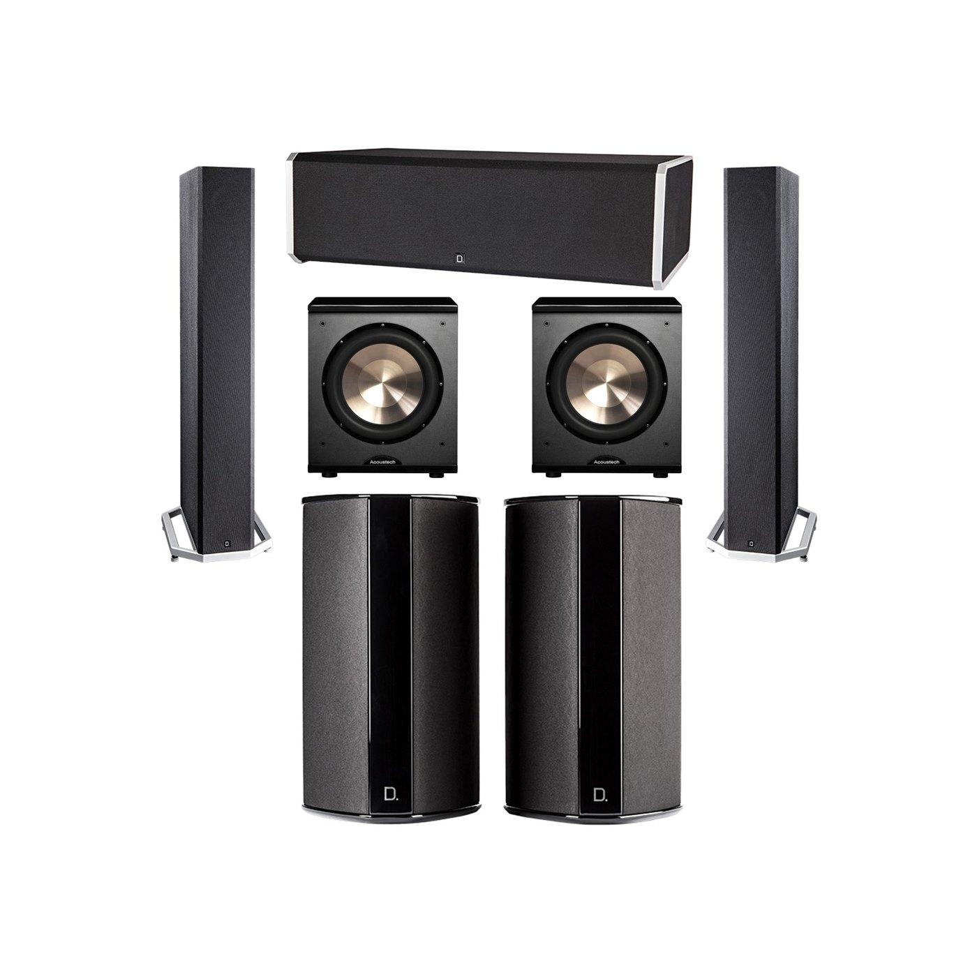 Definitive Technology 5.2 System with 2 BP9040 Tower Speakers, 1 CS9080 Center Channel Speaker, 2 SR9080 Surround Speaker, 2 BIC PL-200 Subwoofer