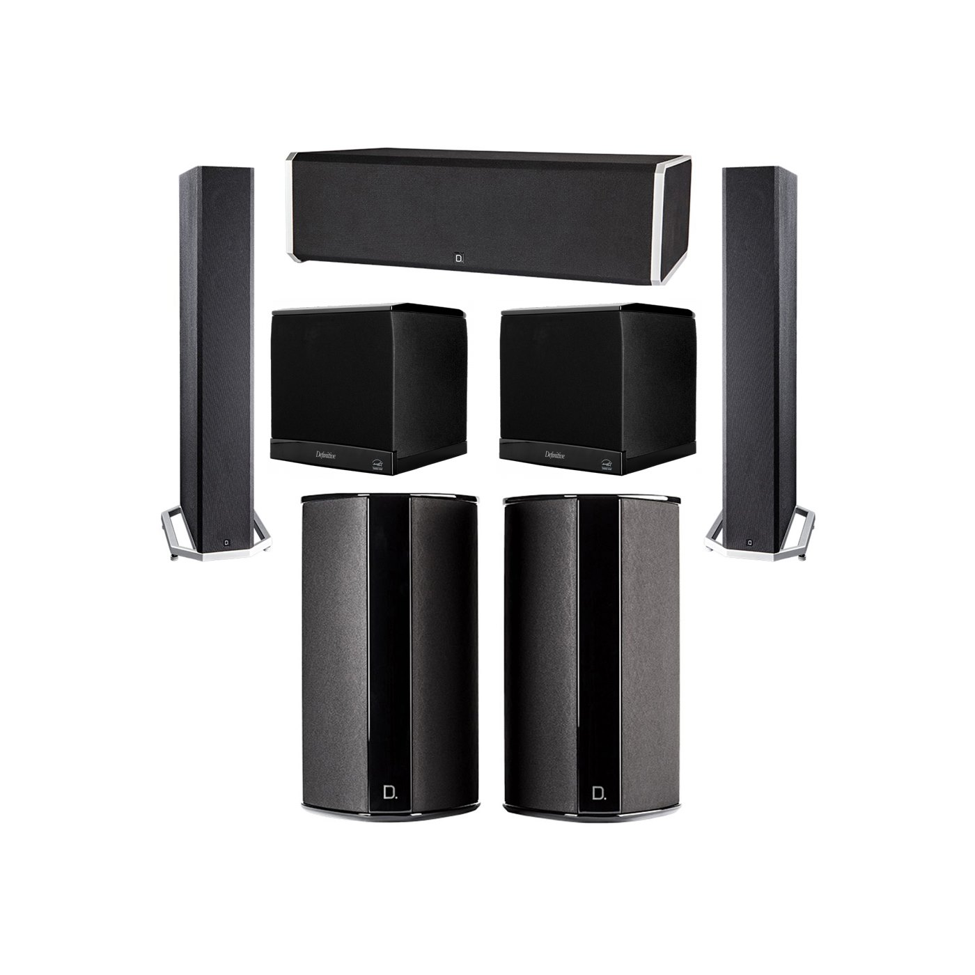 Definitive Technology 5.2 System with 2 BP9040 Tower Speakers, 1 CS9080 Center Channel Speaker, 2 SR9080 Surround Speaker, 2 Definitive Technology SuperCube 4000 Powered Subwoofer