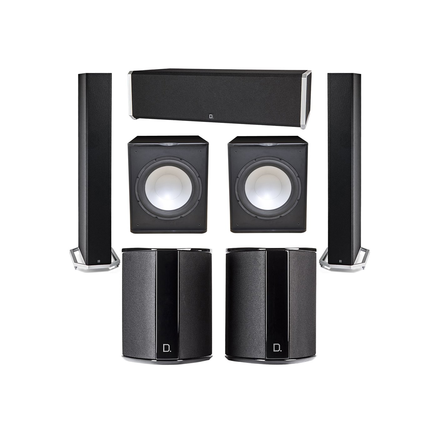 Definitive Technology 5.2 System with 2 BP9060 Tower Speakers, 1 CS9040 Center Channel Speaker, 2 SR9040 Surround Speaker, 2 Premier Acoustic PA-150 Subwoofer