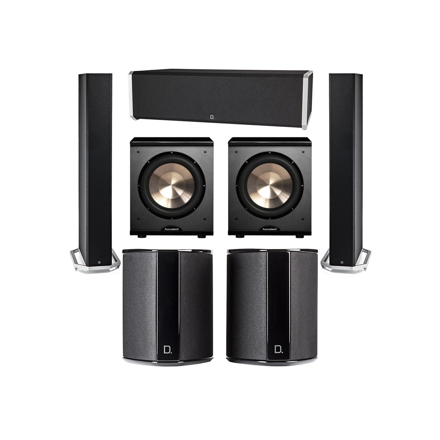 Definitive Technology 5.2 System with 2 BP9060 Tower Speakers, 1 CS9040 Center Channel Speaker, 2 SR9040 Surround Speaker, 2 BIC PL-200 Subwoofer