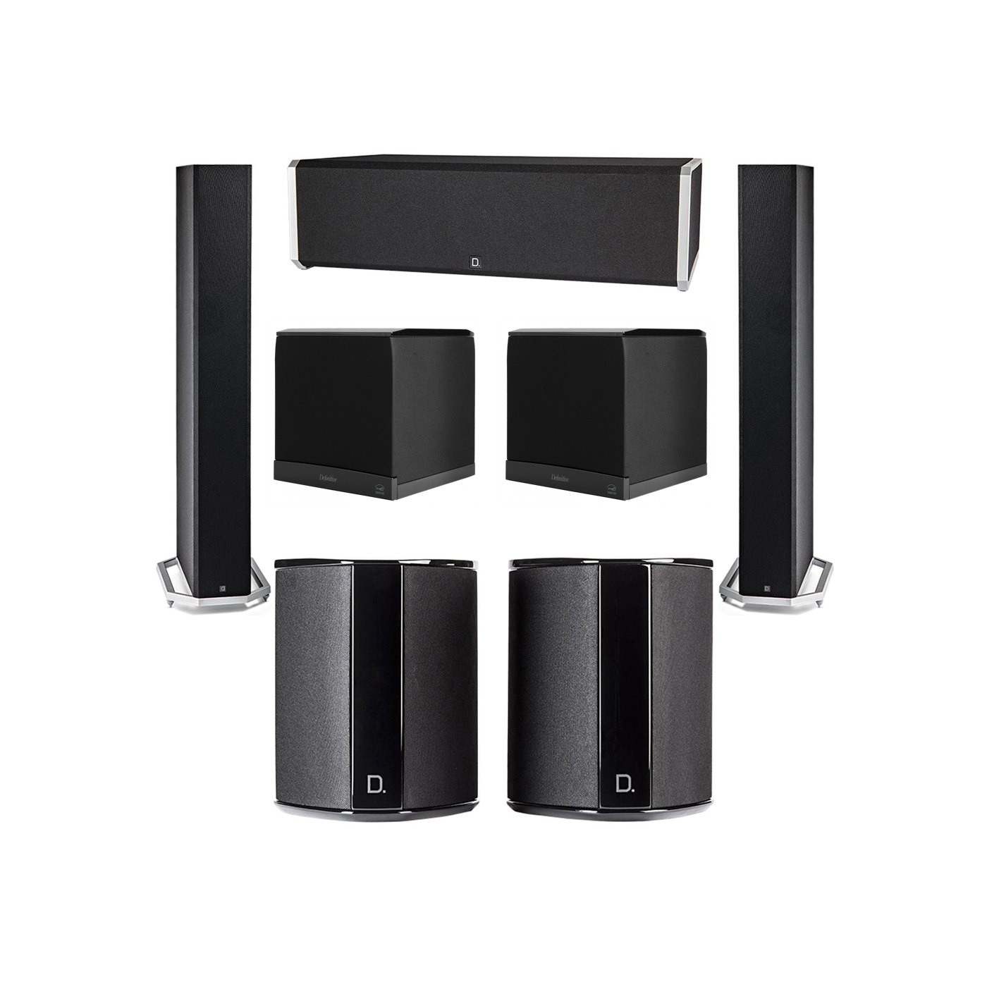 Definitive Technology 5.2 System with 2 BP9060 Tower Speakers, 1 CS9040 Center Channel Speaker, 2 SR9040 Surround Speaker, 2 Definitive Technology SuperCube 6000 Powered Subwoofer