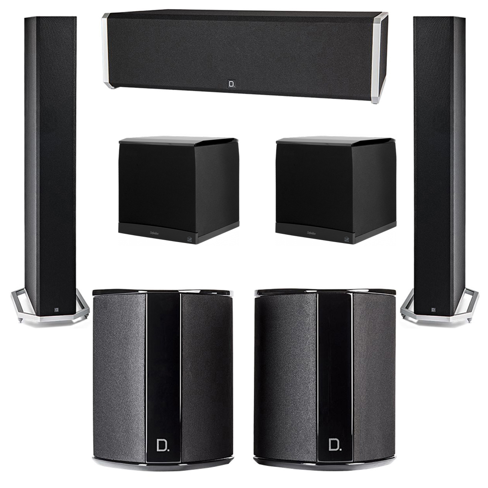Definitive Technology 5.2 System with 2 BP9060 Tower Speakers, 1 CS9040 Center Channel Speaker, 2 SR9040 Surround Speaker, 2 Definitive Technology SuperCube 8000 Powered Subwoofer