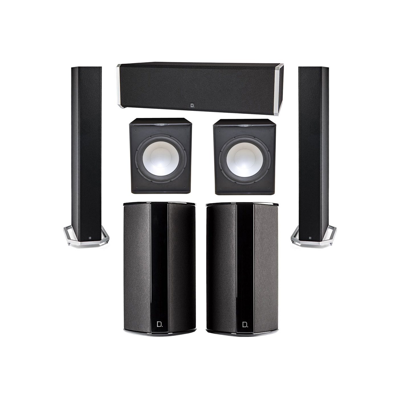 Definitive Technology 5.2 System with 2 BP9060 Tower Speakers, 1 CS9040 Center Channel Speaker, 2 SR9080 Surround Speaker, 2 Premier Acoustic PA-150 Subwoofer