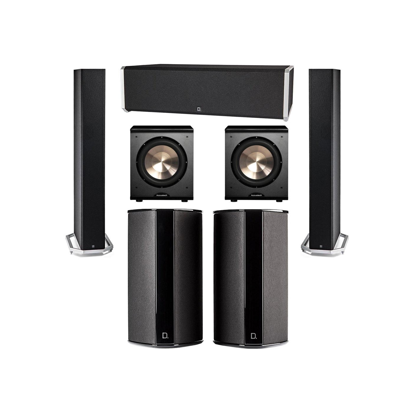 Definitive Technology 5.2 System with 2 BP9060 Tower Speakers, 1 CS9040 Center Channel Speaker, 2 SR9080 Surround Speaker, 2 BIC PL-200 Subwoofer