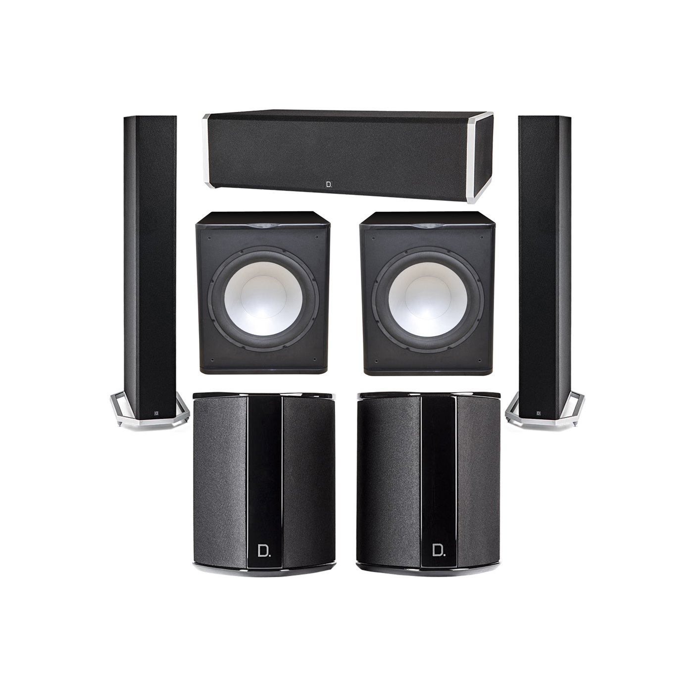 Definitive Technology 5.2 System with 2 BP9060 Tower Speakers, 1 CS9060 Center Channel Speaker, 2 SR9040 Surround Speaker, 2 Premier Acoustic PA-150 Subwoofer