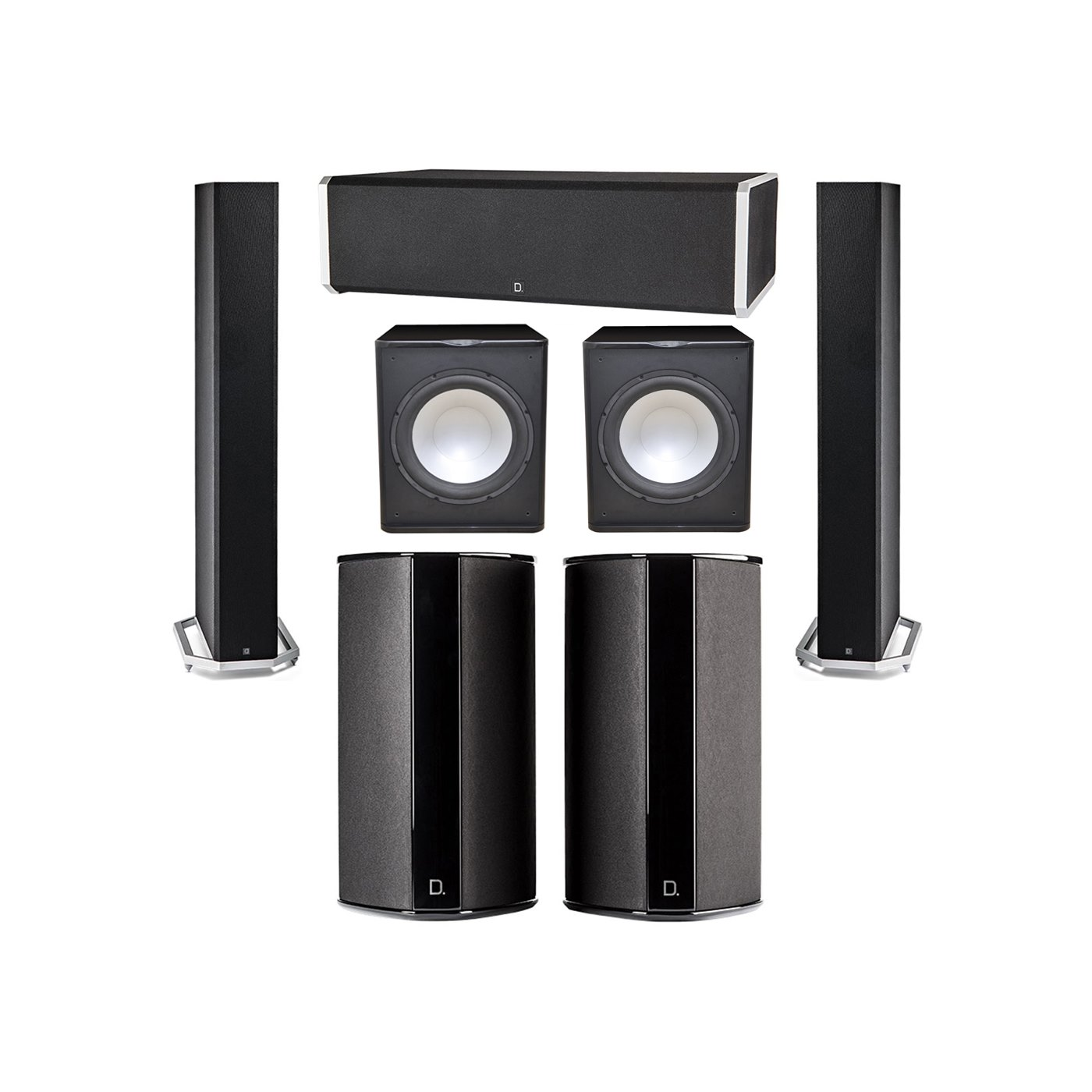 Definitive Technology 5.2 System with 2 BP9060 Tower Speakers, 1 CS9060 Center Channel Speaker, 2 SR9080 Surround Speaker, 2 Premier Acoustic PA-150 Subwoofer