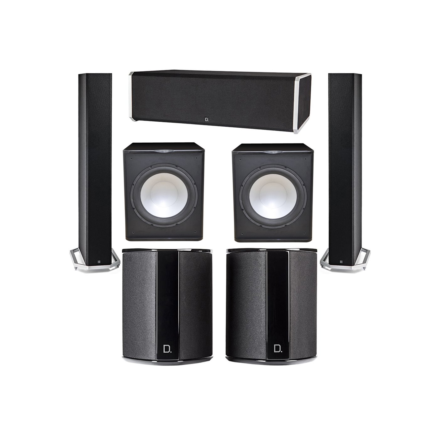 Definitive Technology 5.2 System with 2 BP9060 Tower Speakers, 1 CS9080 Center Channel Speaker, 2 SR9040 Surround Speaker, 2 Premier Acoustic PA-150 Subwoofer