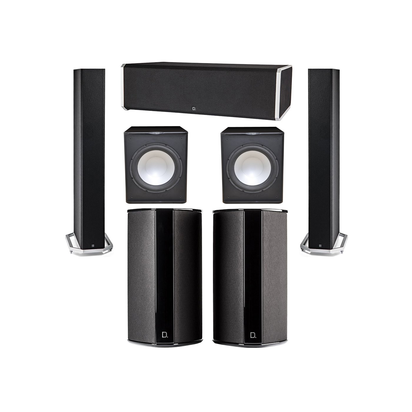 Definitive Technology 5.2 System with 2 BP9060 Tower Speakers, 1 CS9080 Center Channel Speaker, 2 SR9080 Surround Speaker, 2 Premier Acoustic PA-150 Subwoofer