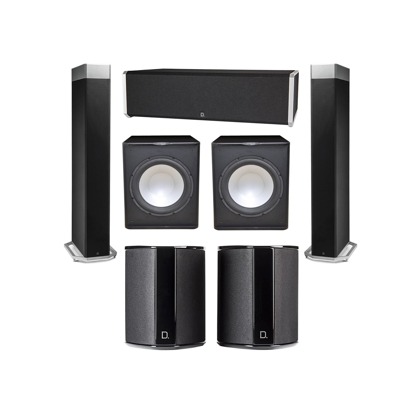 Definitive Technology 5.2 System with 2 BP9080X Tower Speakers, 1 CS9040 Center Channel Speaker, 2 SR9040 Surround Speaker, 2 Premier Acoustic PA-150 Subwoofer
