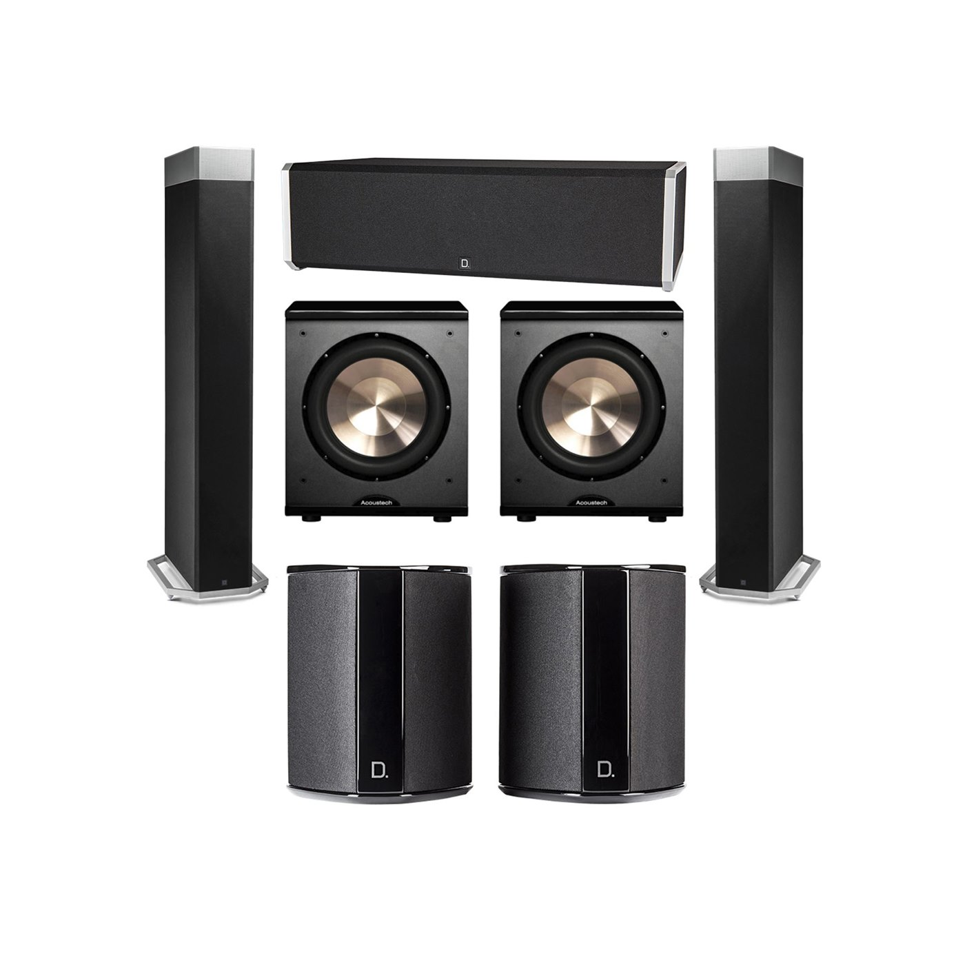 Definitive Technology 5.2 System with 2 BP9080X Tower Speakers, 1 CS9040 Center Channel Speaker, 2 SR9040 Surround Speaker, 2 BIC PL-200 Subwoofer