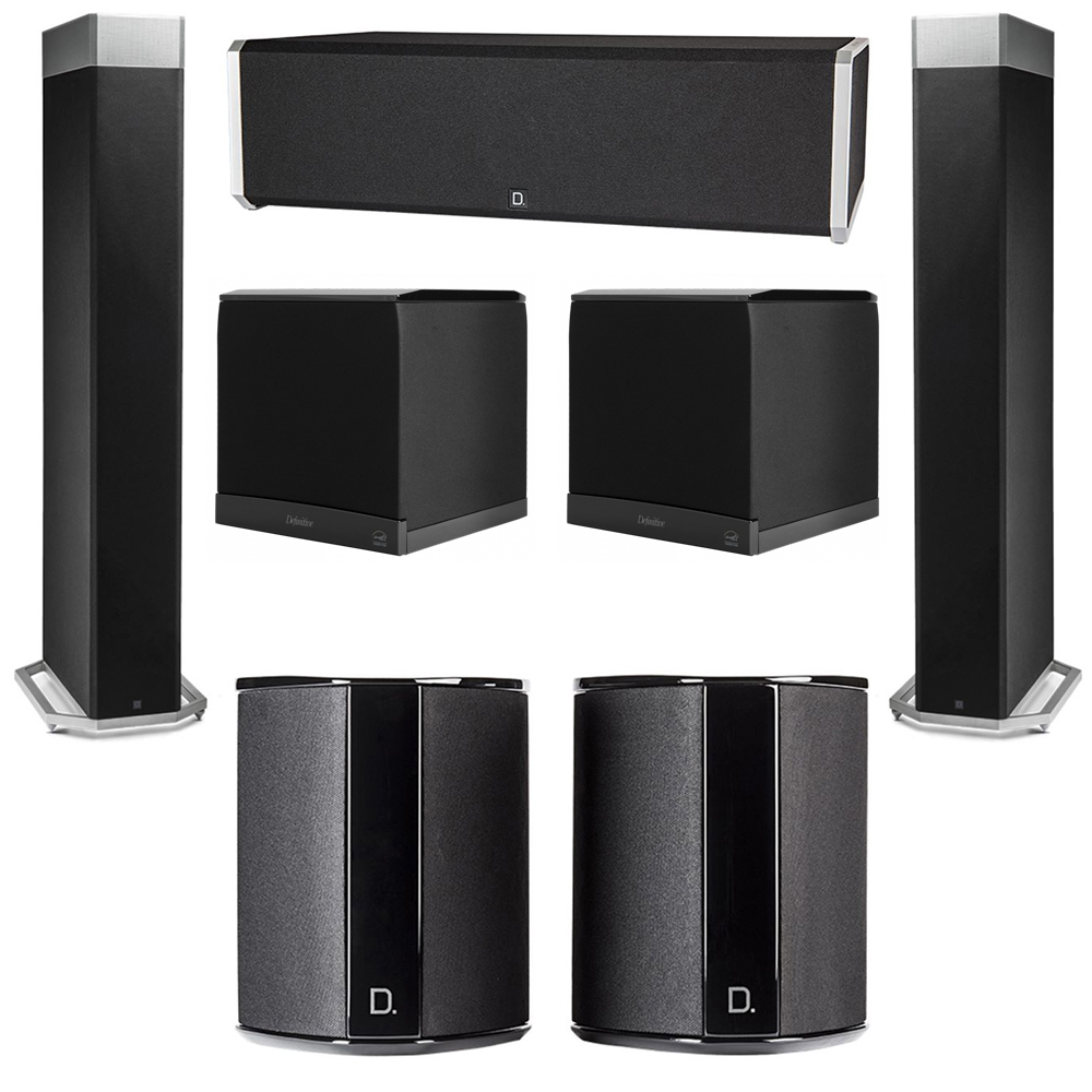 Definitive Technology 5.2 System with 2 BP9080X Tower Speakers, 1 CS9040 Center Channel Speaker, 2 SR9040 Surround Speaker, 2 Definitive Technology SuperCube 6000 Powered Subwoofer