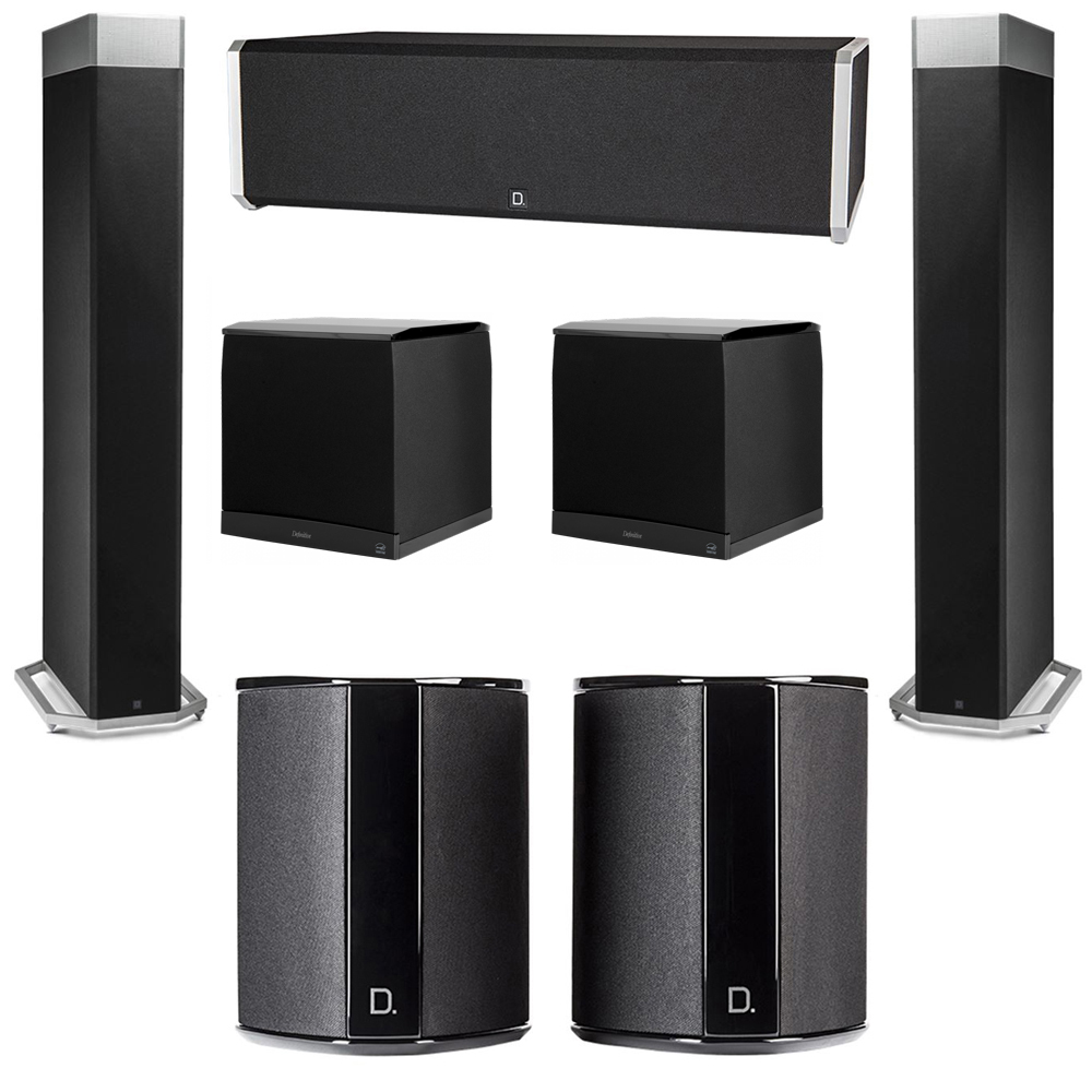 Definitive Technology 5.2 System with 2 BP9080X Tower Speakers, 1 CS9040 Center Channel Speaker, 2 SR9040 Surround Speaker, 2 Definitive Technology SuperCube 8000 Powered Subwoofer
