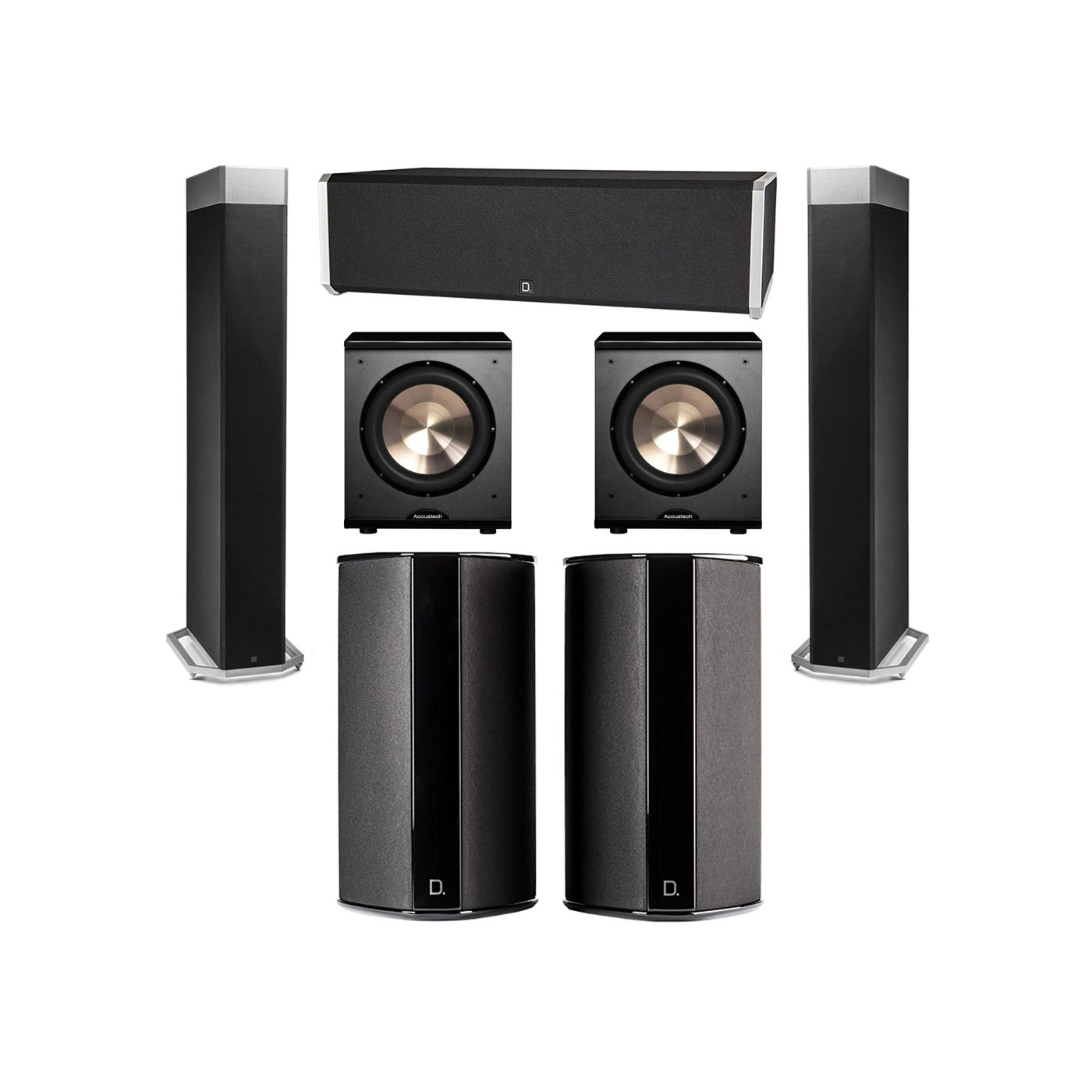 Definitive Technology 5.2 System with 2 BP9080X Tower Speakers, 1 CS9040 Center Channel Speaker, 2 SR9080 Surround Speaker, 2 BIC PL-200 Subwoofer