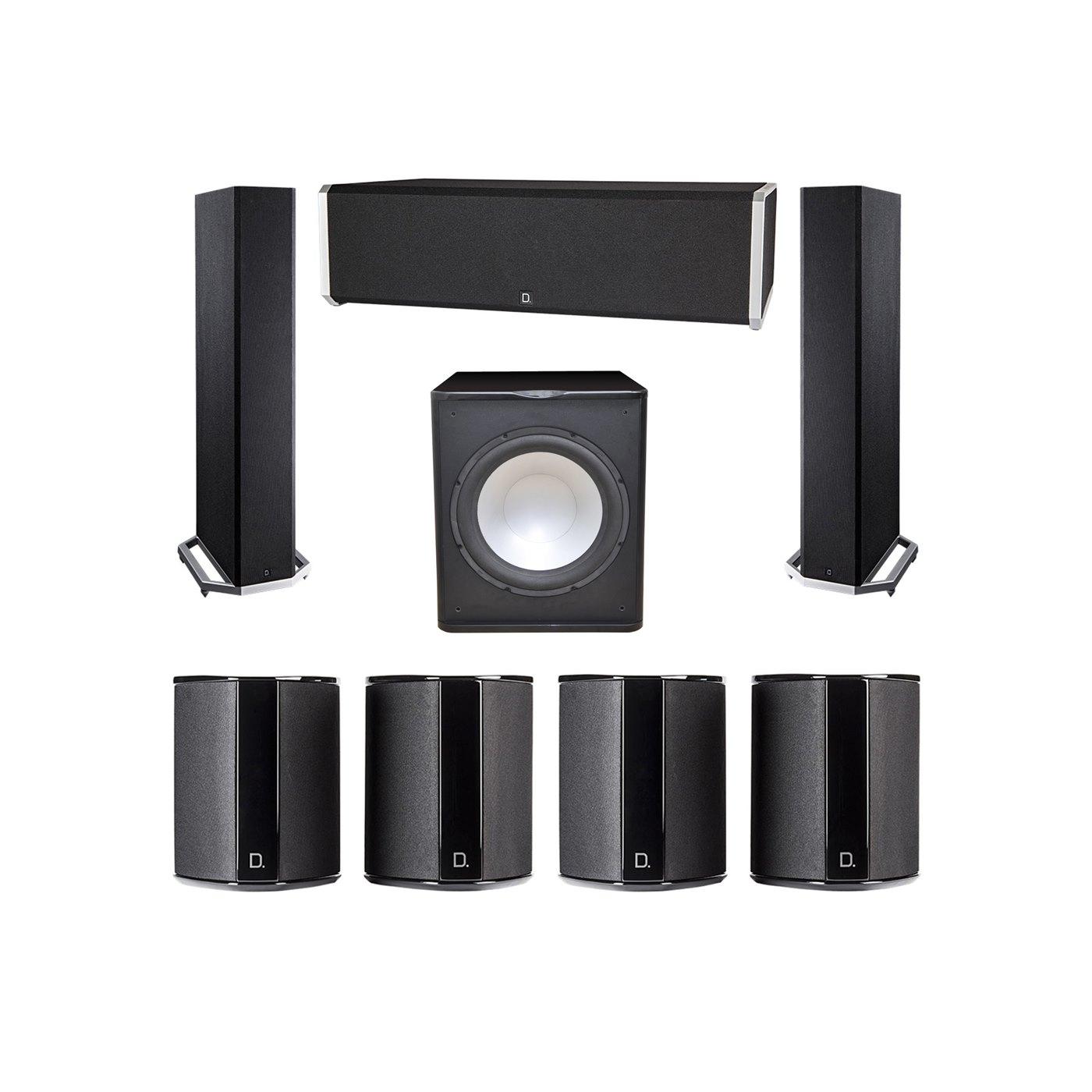 Definitive Technology 7.1 System with 2 BP9020 Tower Speakers, 1 CS9040 Center Channel Speaker, 4 SR9040 Surround Speaker, 1 Premier Acoustic PA-150 Subwoofer