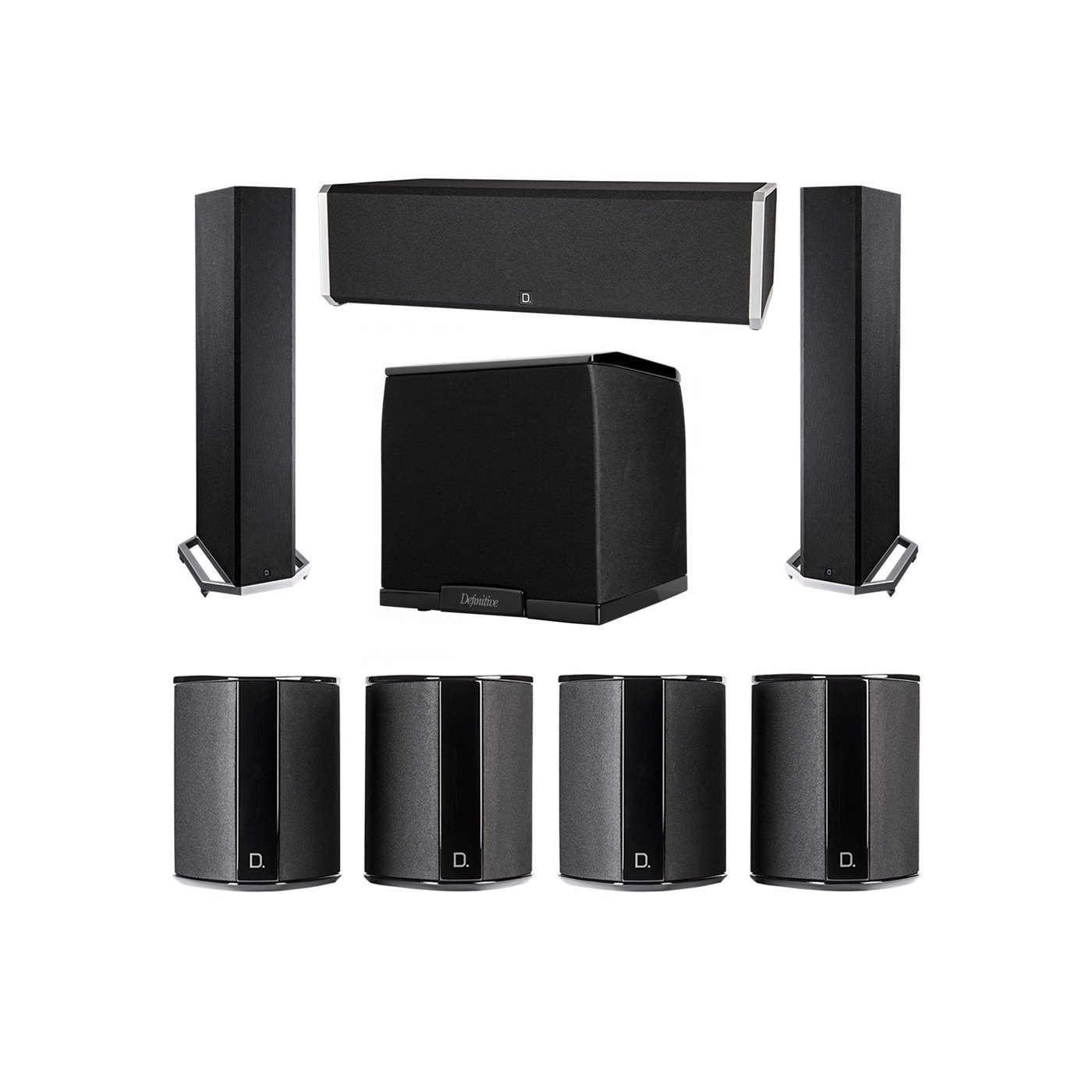 Definitive Technology 7.1 System with 2 BP9020 Tower Speakers, 1 CS9040 Center Channel Speaker, 4 SR9040 Surround Speaker, 1 Definitive Technology SuperCube 2000 Powered Subwoofer