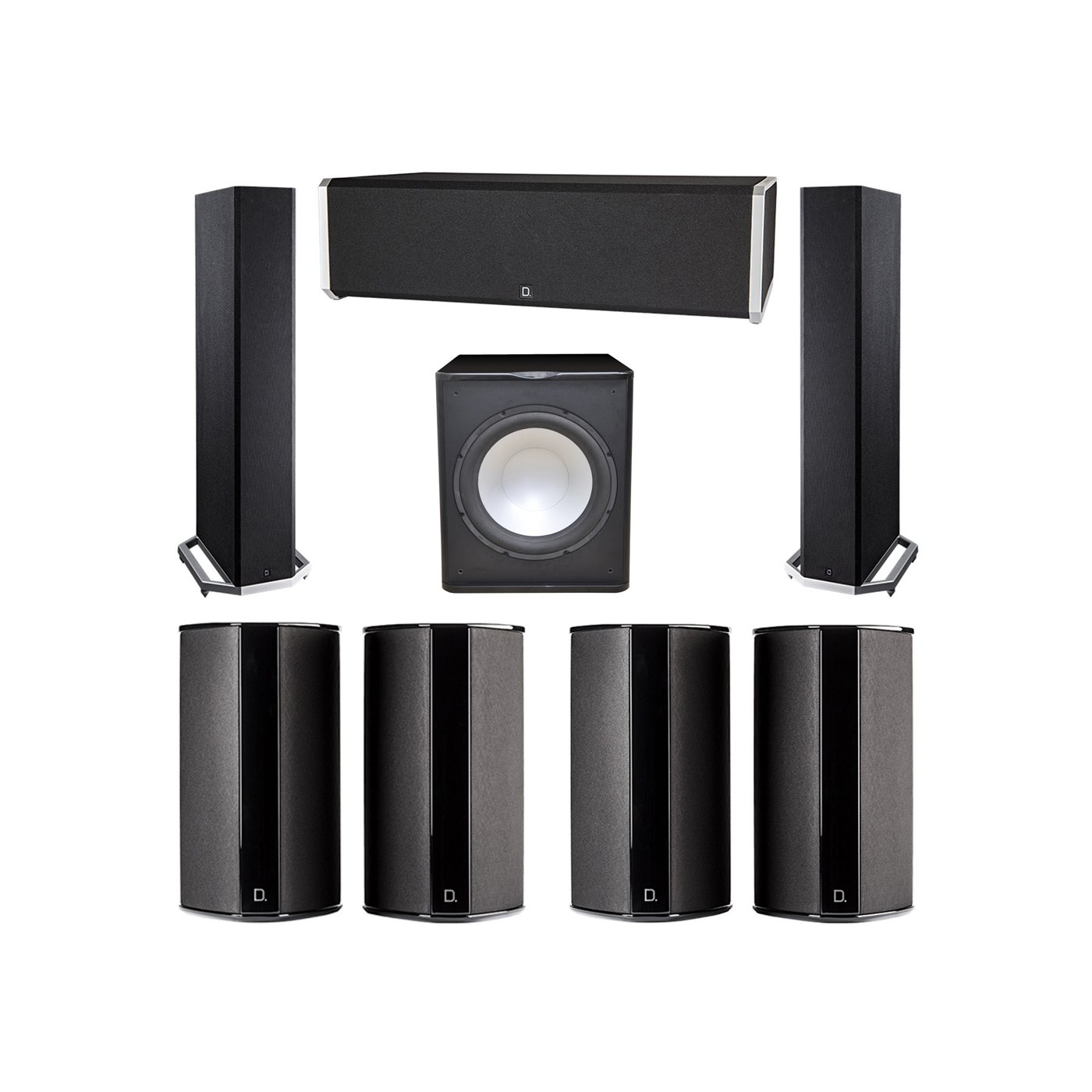 Definitive Technology 7.1 System with 2 BP9020 Tower Speakers, 1 CS9040 Center Channel Speaker, 4 SR9080 Surround Speaker, 1 Premier Acoustic PA-150 Subwoofer
