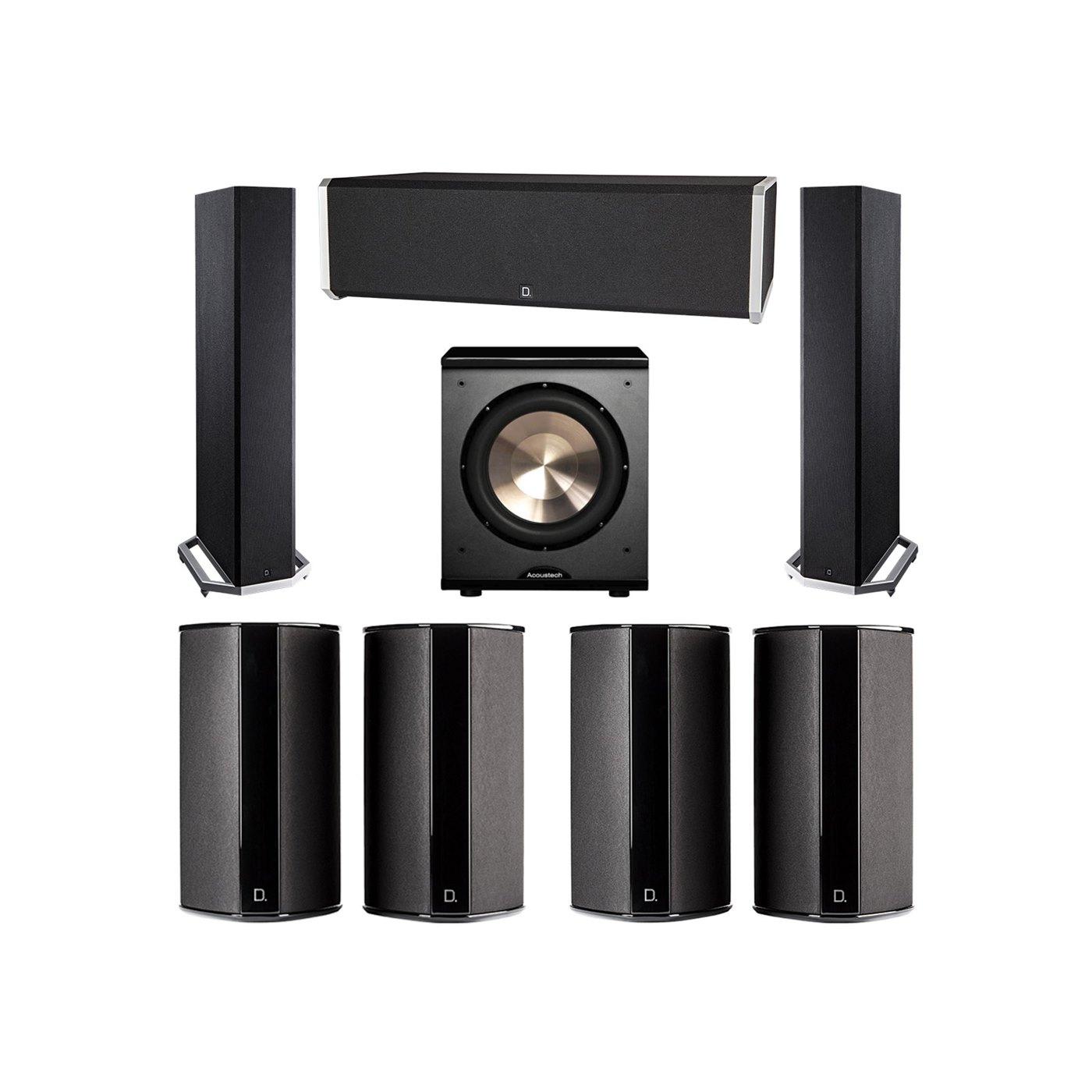 Definitive Technology 7.1 System with 2 BP9020 Tower Speakers, 1 CS9040 Center Channel Speaker, 4 SR9080 Surround Speaker, 1 BIC PL-200 Subwoofer