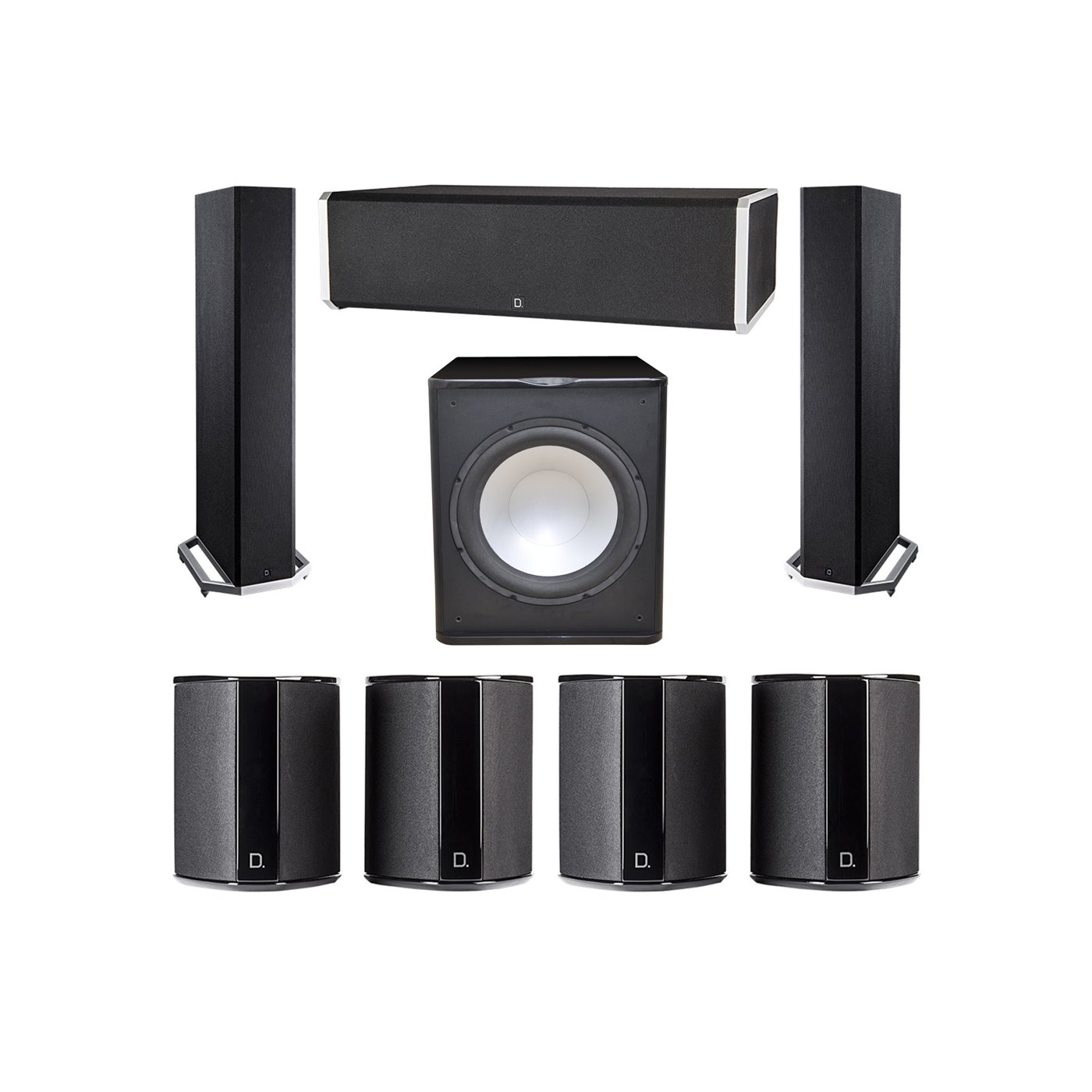 Definitive Technology 7.1 System with 2 BP9020 Tower Speakers, 1 CS9060 Center Channel Speaker, 4 SR9040 Surround Speaker, 1 Premier Acoustic PA-150 Subwoofer