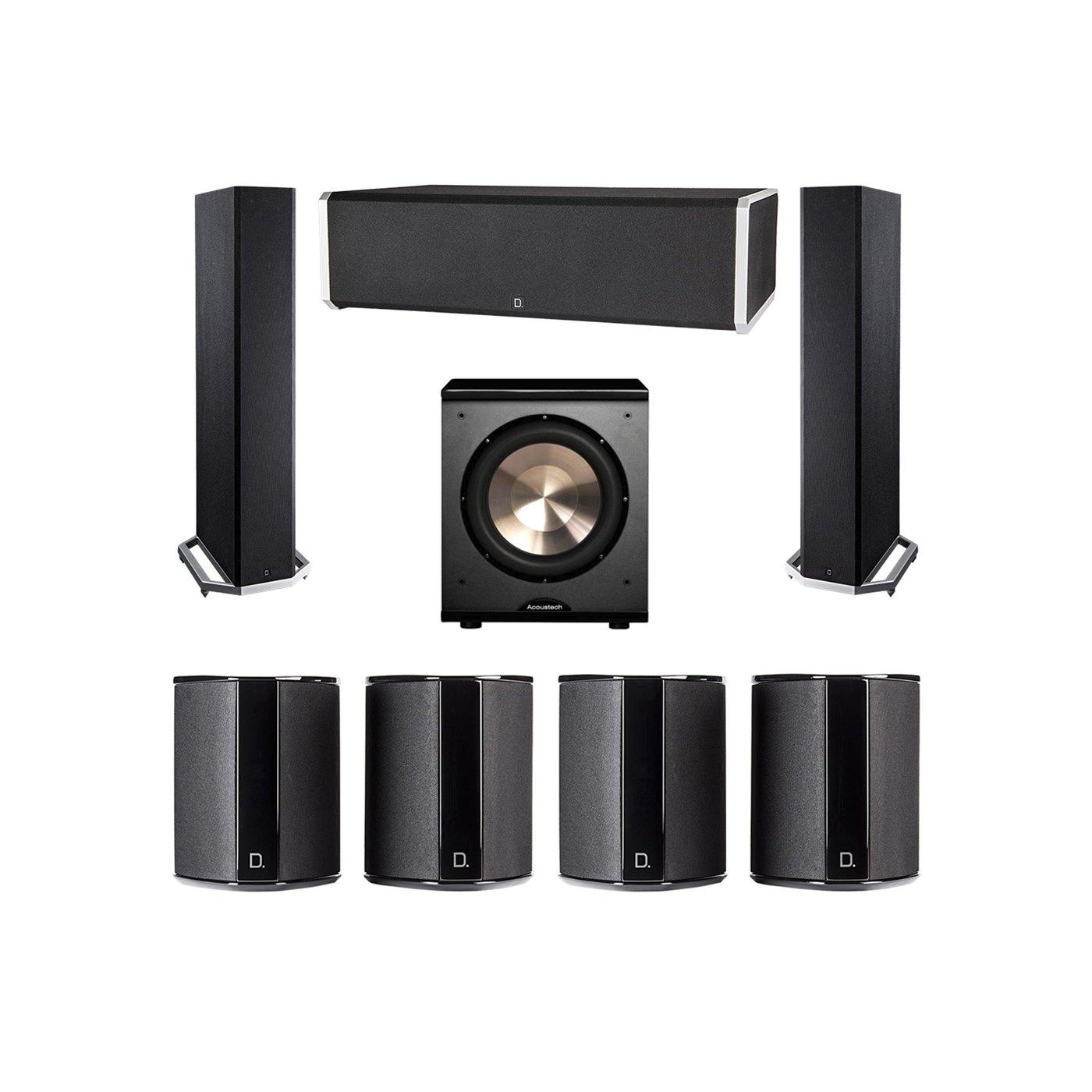 Definitive Technology 7.1 System with 2 BP9020 Tower Speakers, 1 CS9060 Center Channel Speaker, 4 SR9040 Surround Speaker, 1 BIC PL-200 Subwoofer