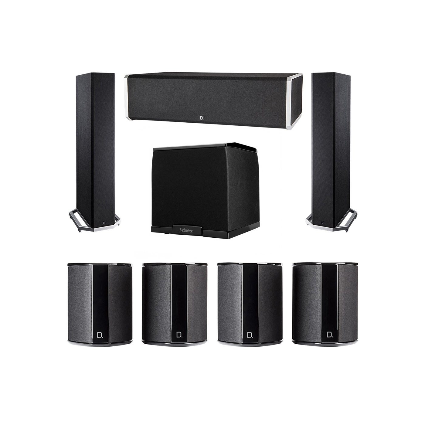 Definitive Technology 7.1 System with 2 BP9020 Tower Speakers, 1 CS9060 Center Channel Speaker, 4 SR9040 Surround Speaker, 1 Definitive Technology SuperCube 2000 Powered Subwoofer