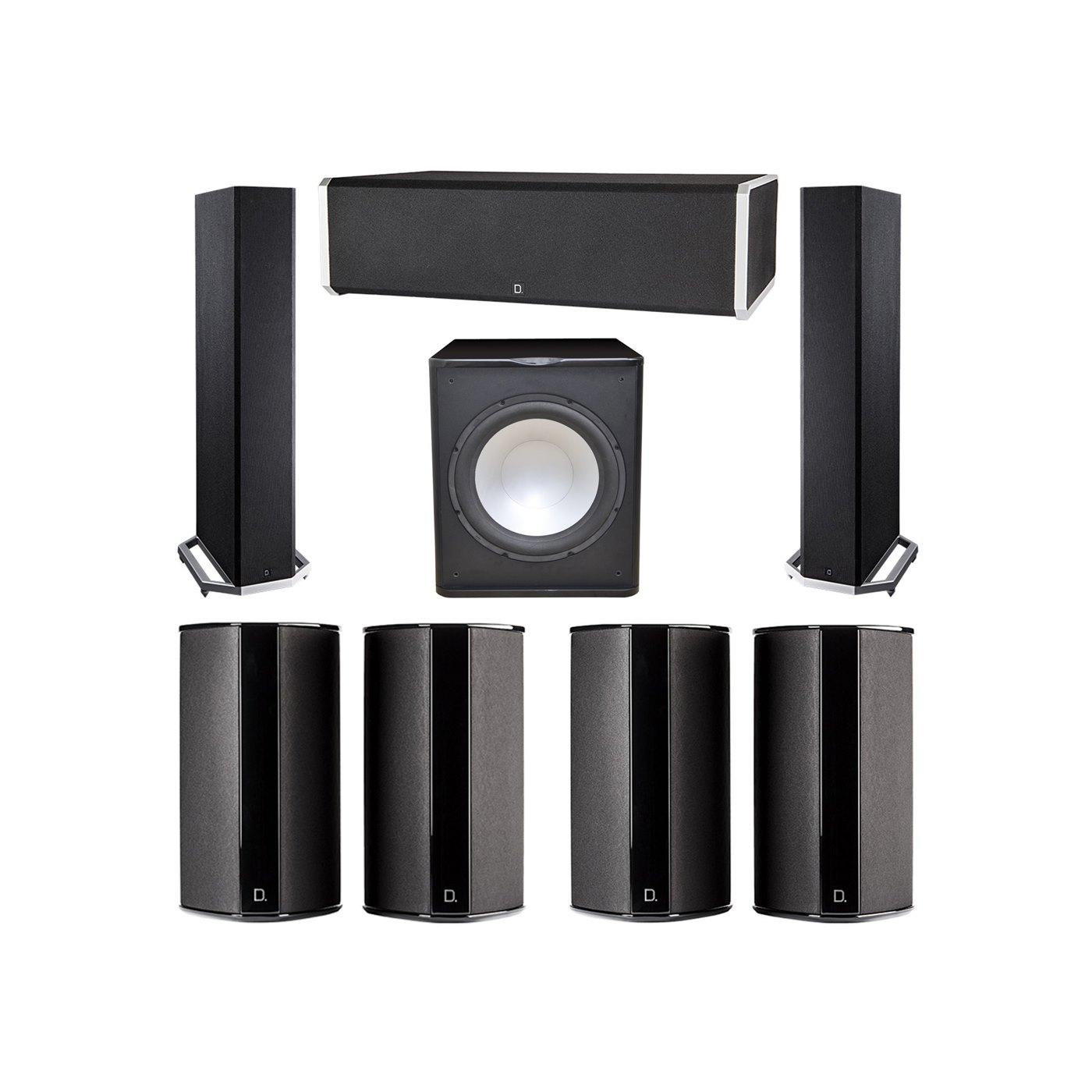 Definitive Technology 7.1 System with 2 BP9020 Tower Speakers, 1 CS9060 Center Channel Speaker, 4 SR9080 Surround Speaker, 1 Premier Acoustic PA-150 Subwoofer