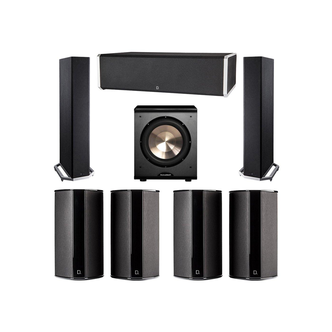 Definitive Technology 7.1 System with 2 BP9020 Tower Speakers, 1 CS9060 Center Channel Speaker, 4 SR9080 Surround Speaker, 1 BIC PL-200 Subwoofer