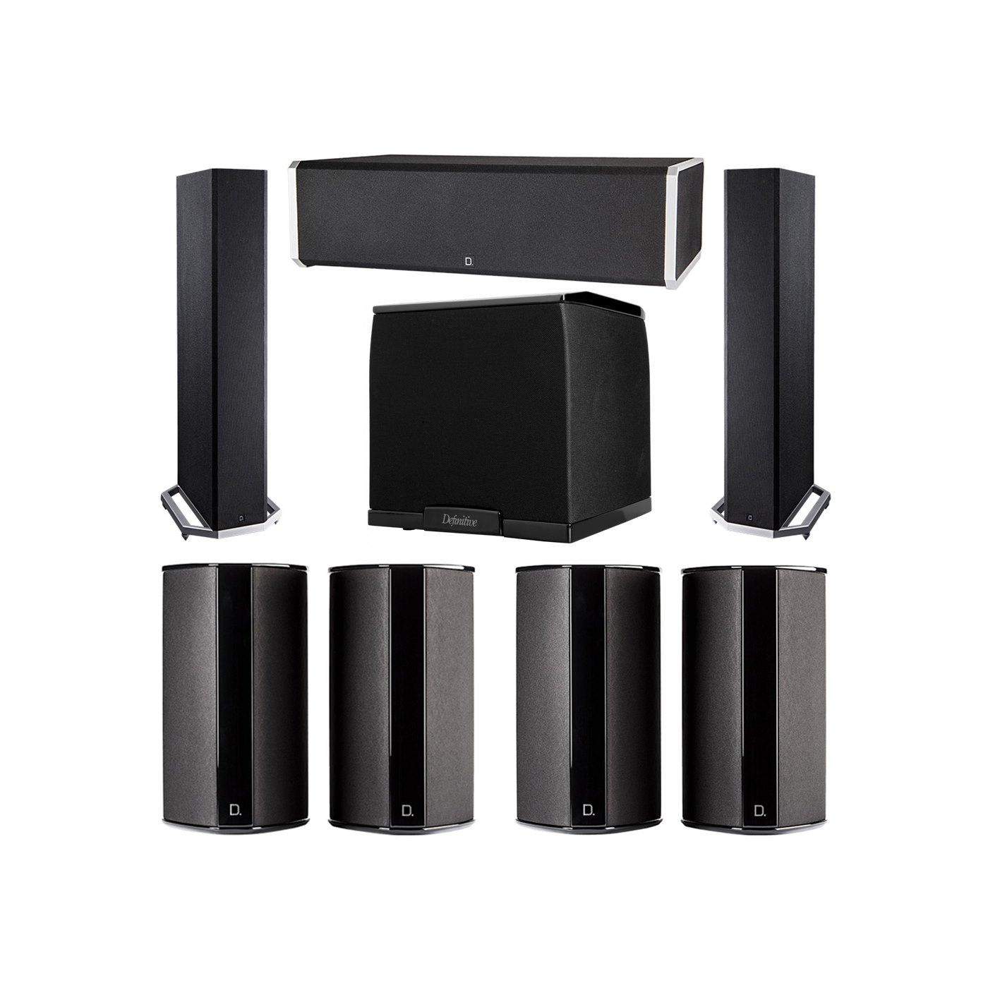 Definitive Technology 7.1 System with 2 BP9020 Tower Speakers, 1 CS9060 Center Channel Speaker, 4 SR9080 Surround Speaker, 1 Definitive Technology SuperCube 2000 Powered Subwoofer
