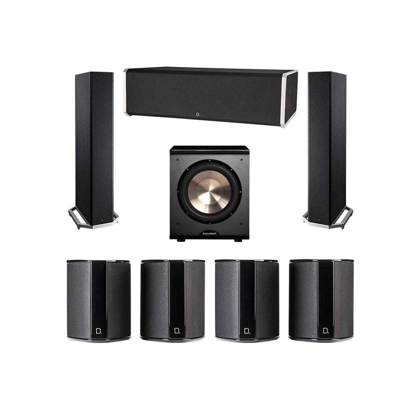 Definitive Technology 7.1 System with 2 BP9020 Tower Speakers, 1 CS9080 Center Channel Speaker, 4 SR9040 Surround Speaker, 1 BIC PL-200 Subwoofer