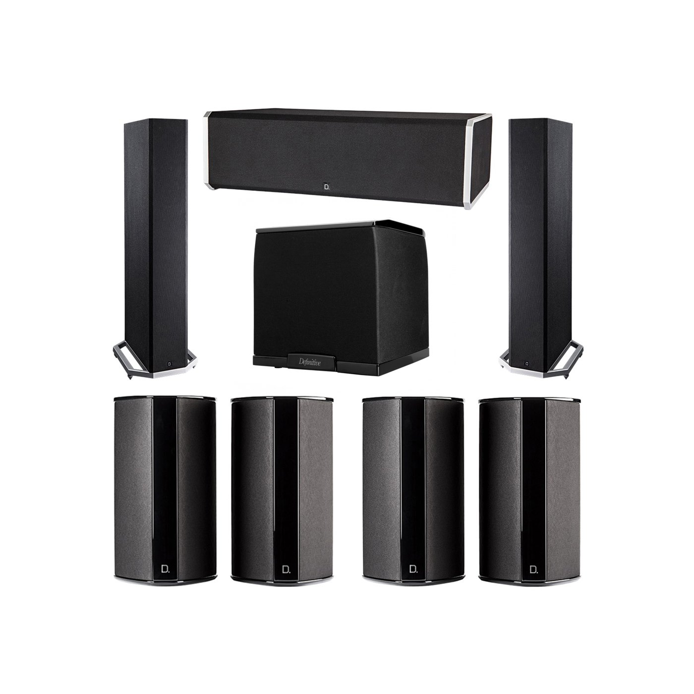 Definitive Technology 7.1 System with 2 BP9020 Tower Speakers, 1 CS9080 Center Channel Speaker, 4 SR9080 Surround Speaker, 1 Definitive Technology SuperCube 2000 Powered Subwoofer