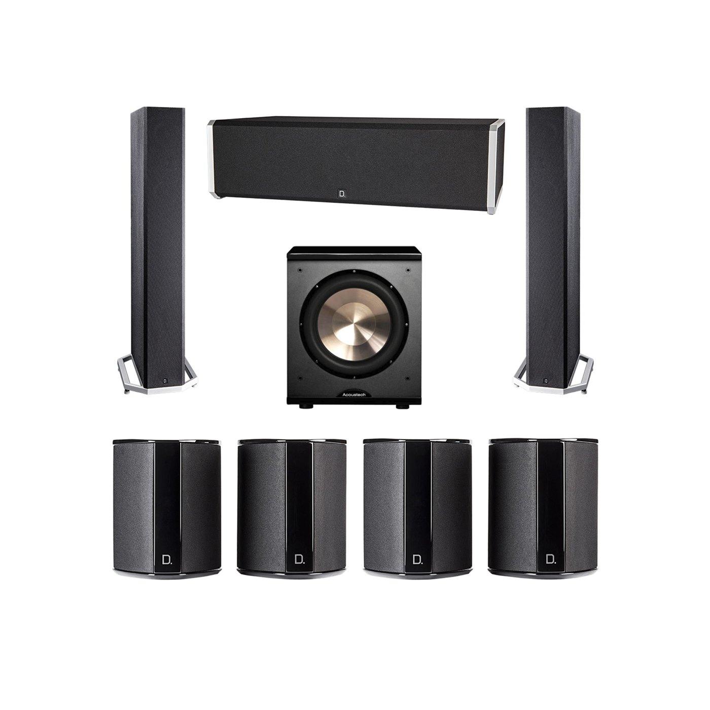 Definitive Technology 7.1 System with 2 BP9040 Tower Speakers, 1 CS9040 Center Channel Speaker, 4 SR9040 Surround Speaker, 1 BIC PL-200 Subwoofer